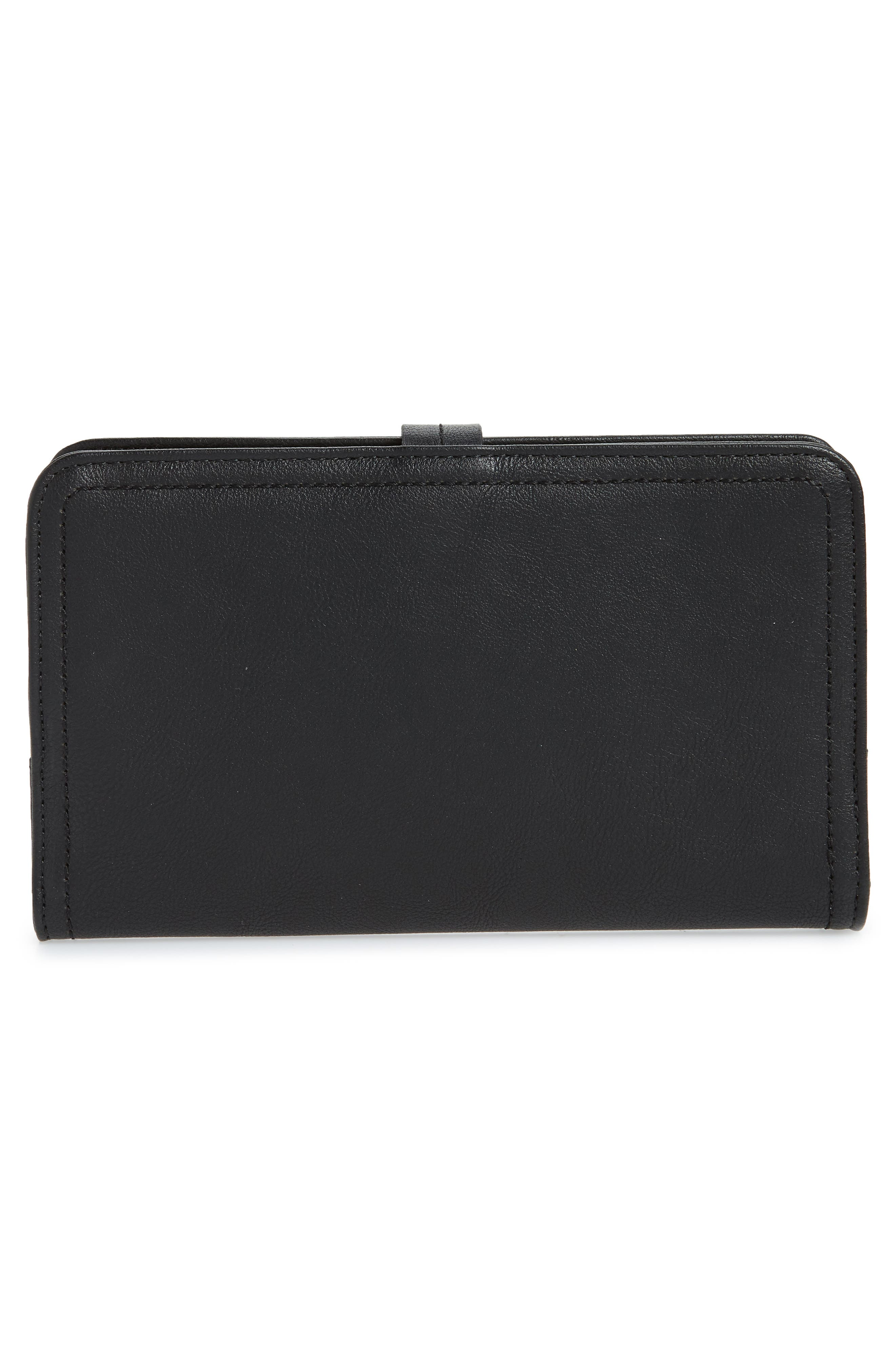 Travel Faux Leather Wallet,                             Alternate thumbnail 3, color,                             BLACK