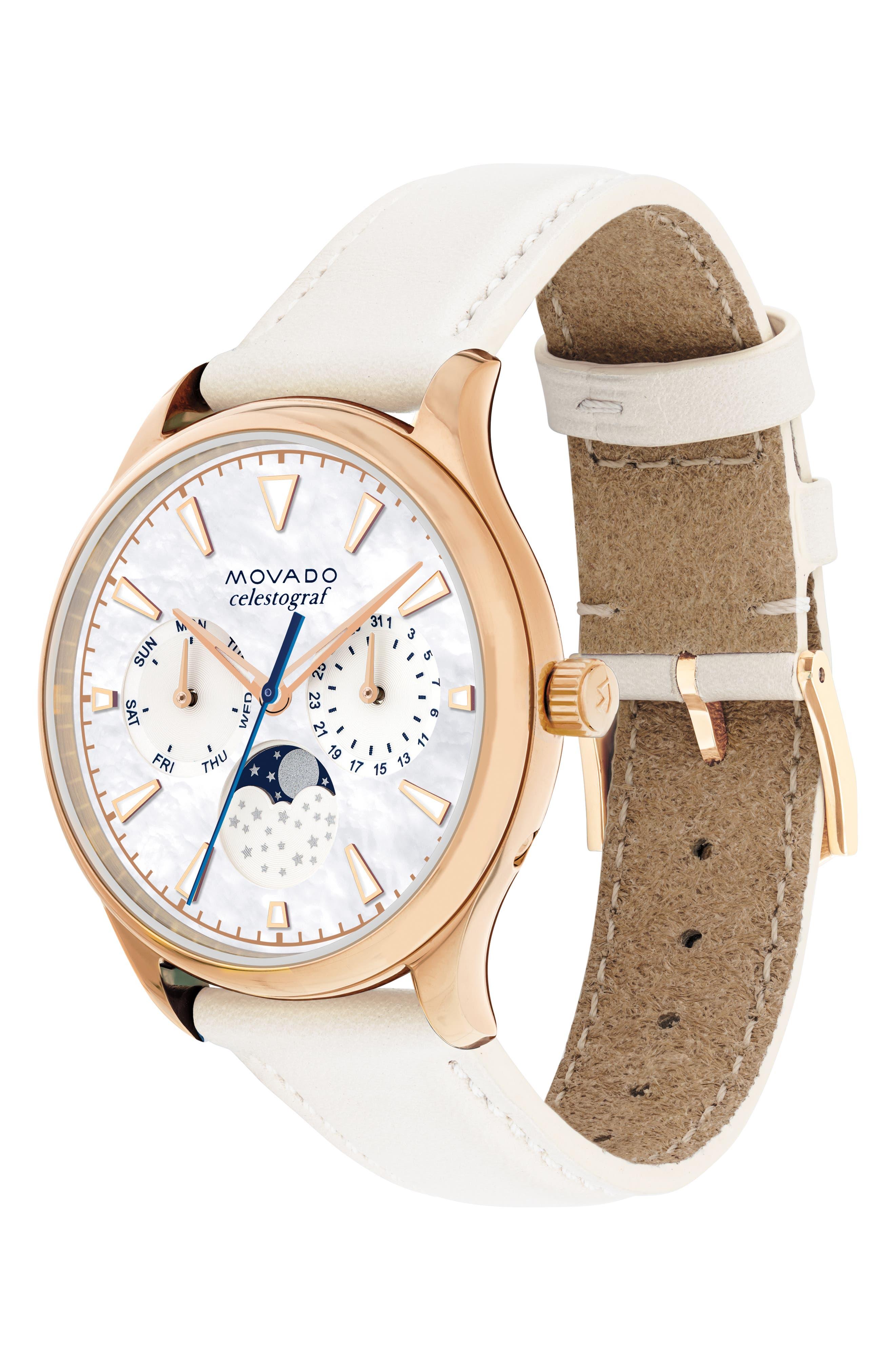 Heritage Celestograf Leather Strap Watch, 36mm,                             Alternate thumbnail 3, color,                             WHITE/ MOP/ ROSE GOLD