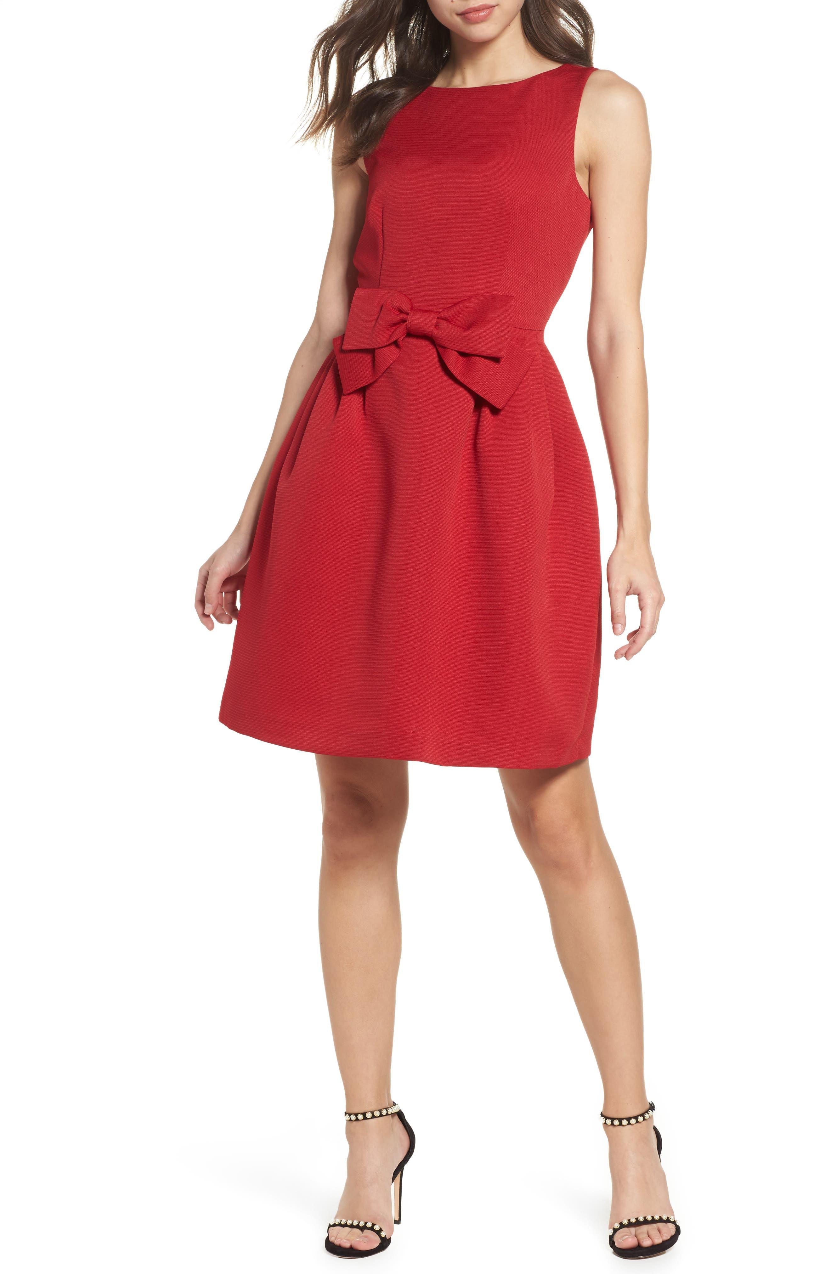Bow Front A-Line Dress,                             Main thumbnail 2, color,