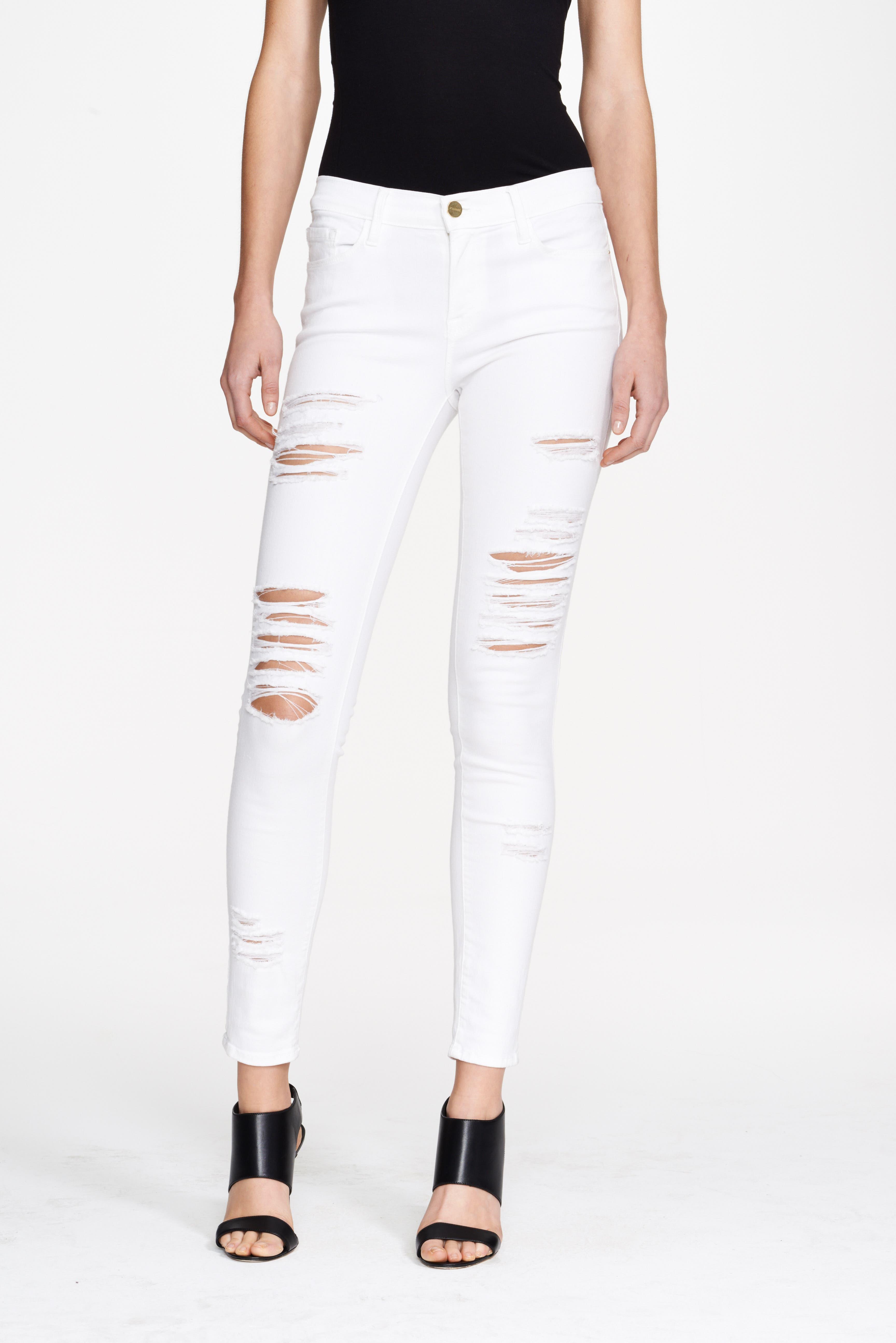 Le Color Rip Skinny Jeans,                             Alternate thumbnail 2, color,                             BLANC