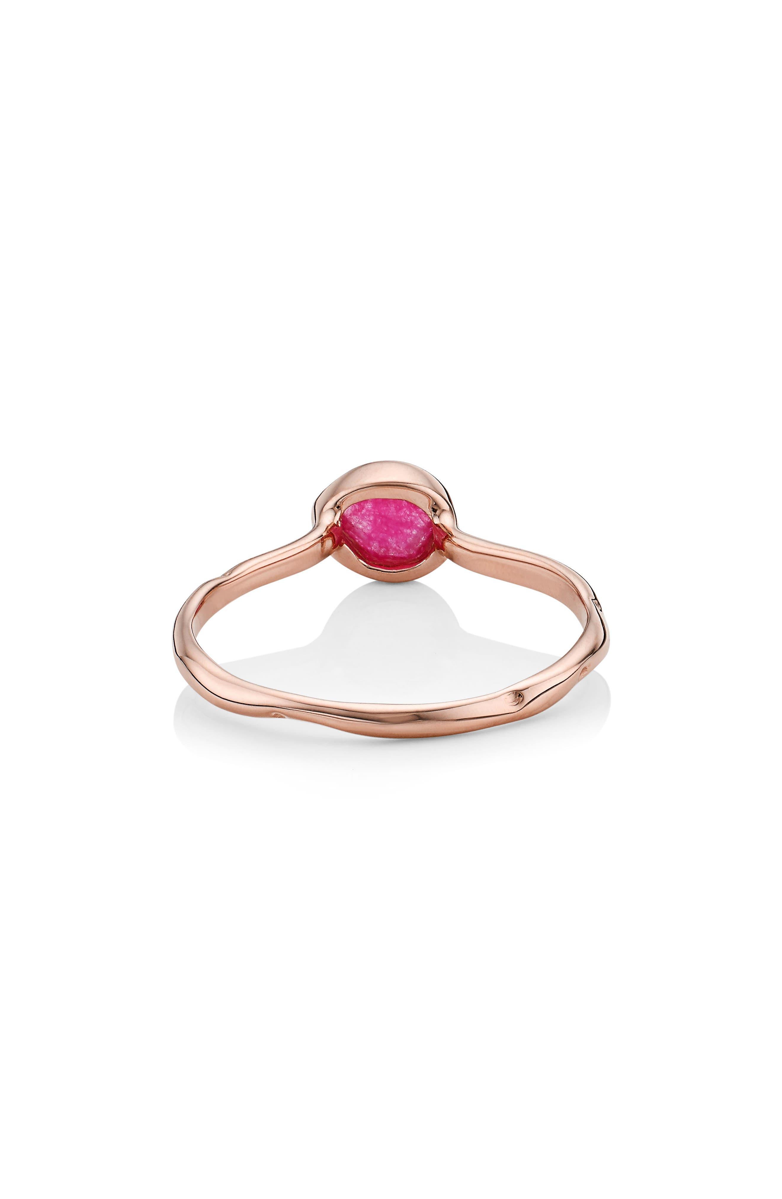 'Siren' Small Stacking Ring,                             Alternate thumbnail 3, color,                             PINK QUARTZ/ ROSE GOLD