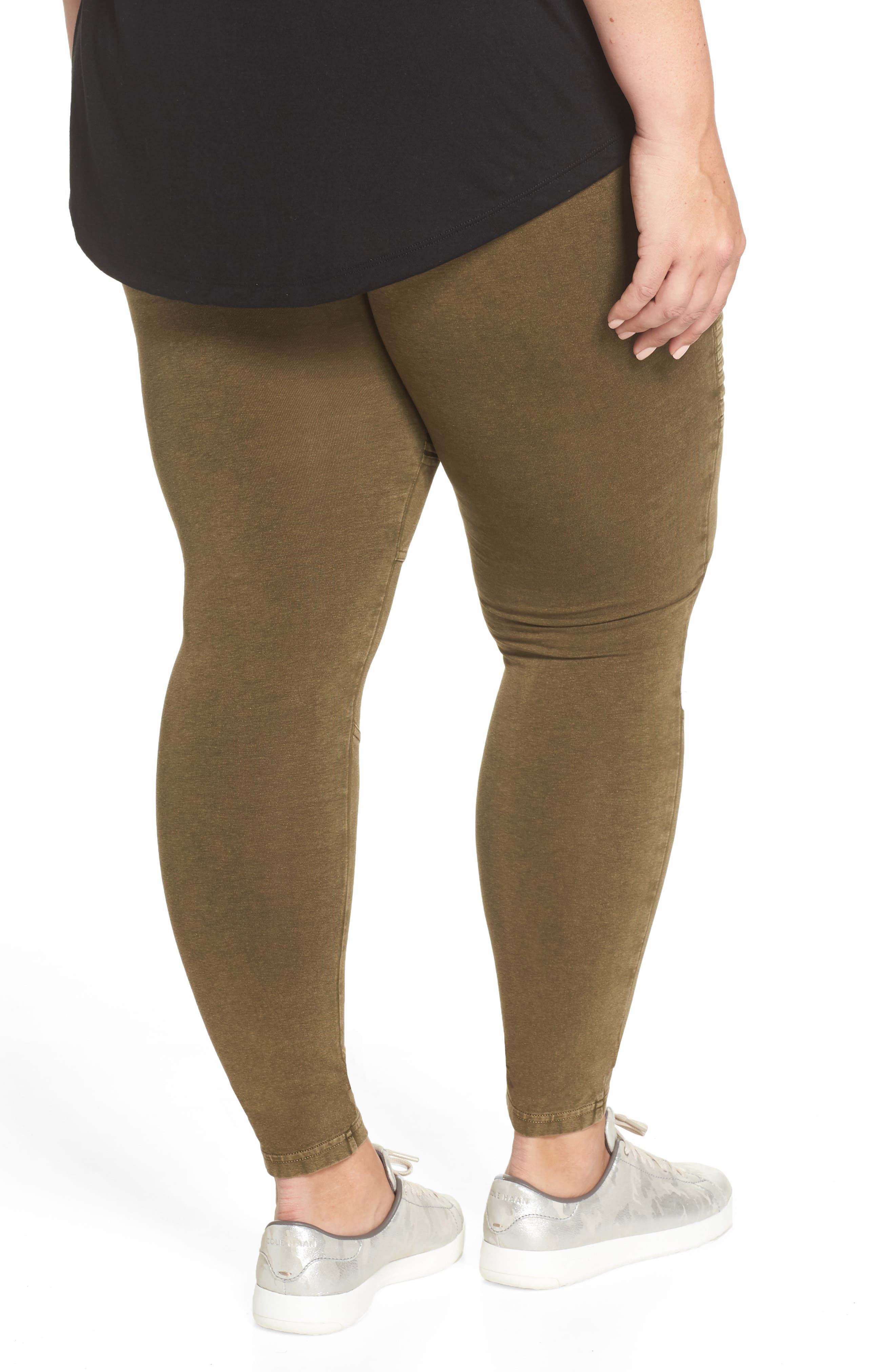 Washed Moto Leggings,                             Alternate thumbnail 9, color,                             OLIVE DARK