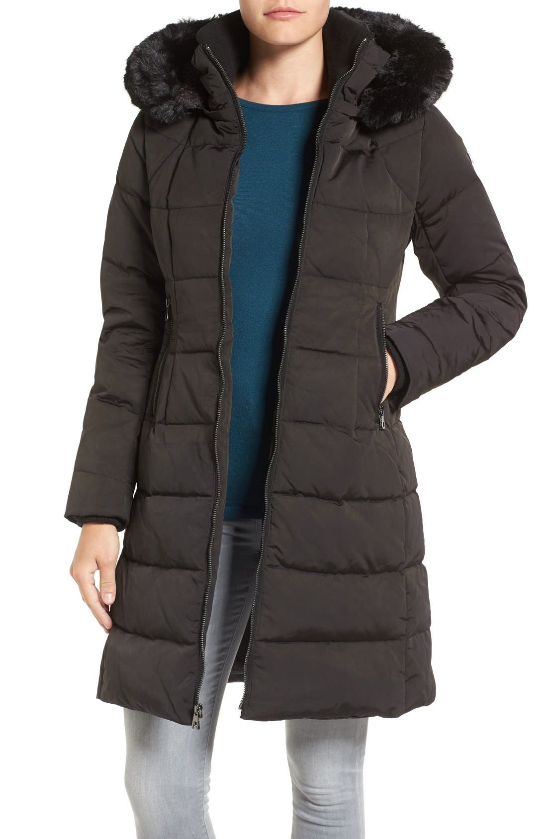 Down & Feather Fill Coat with Faux Fur Trim Hood,                             Main thumbnail 2, color,