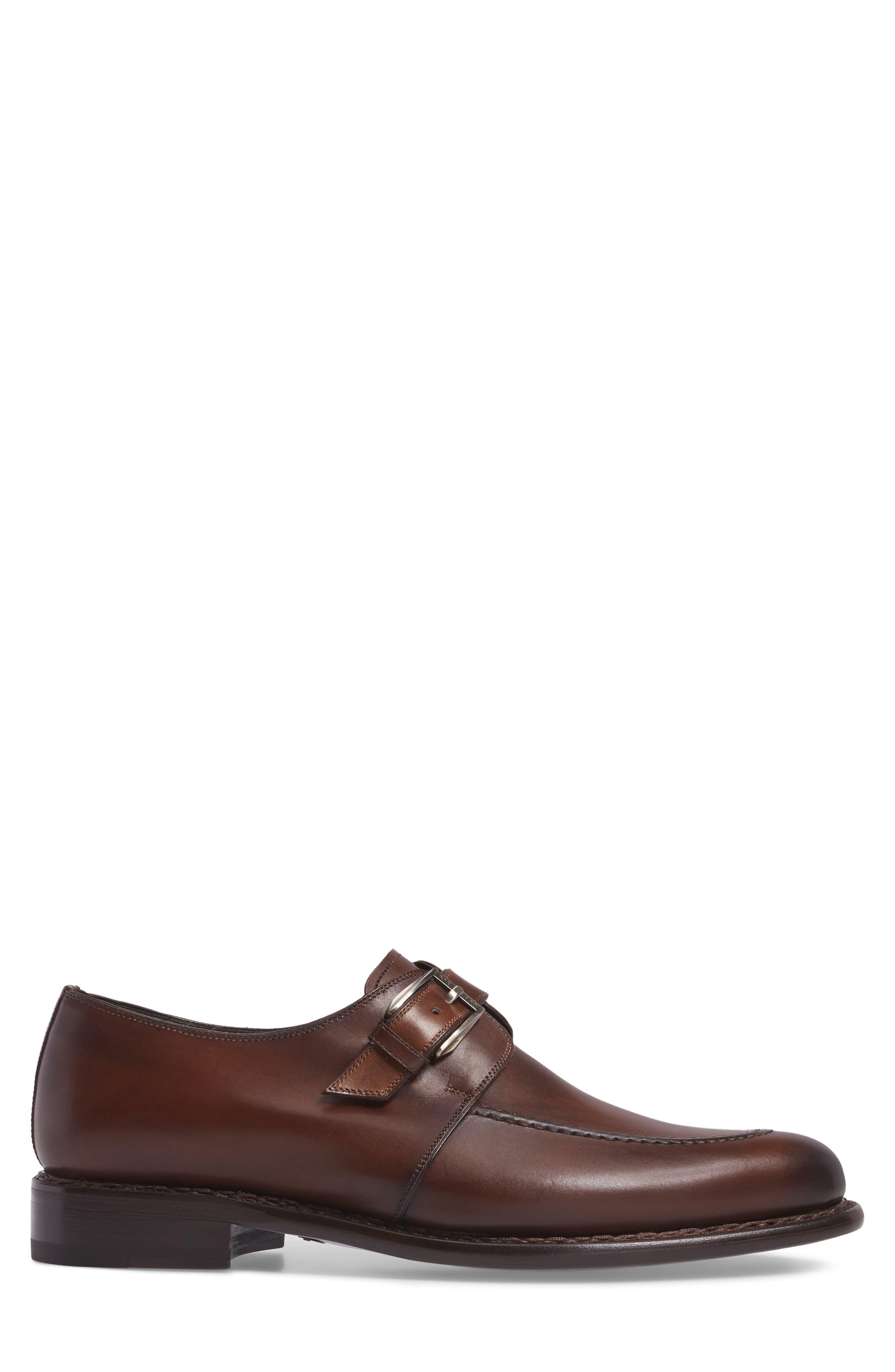 Aguilar Monk Strap Shoe,                             Alternate thumbnail 3, color,                             COGNAC LEATHER
