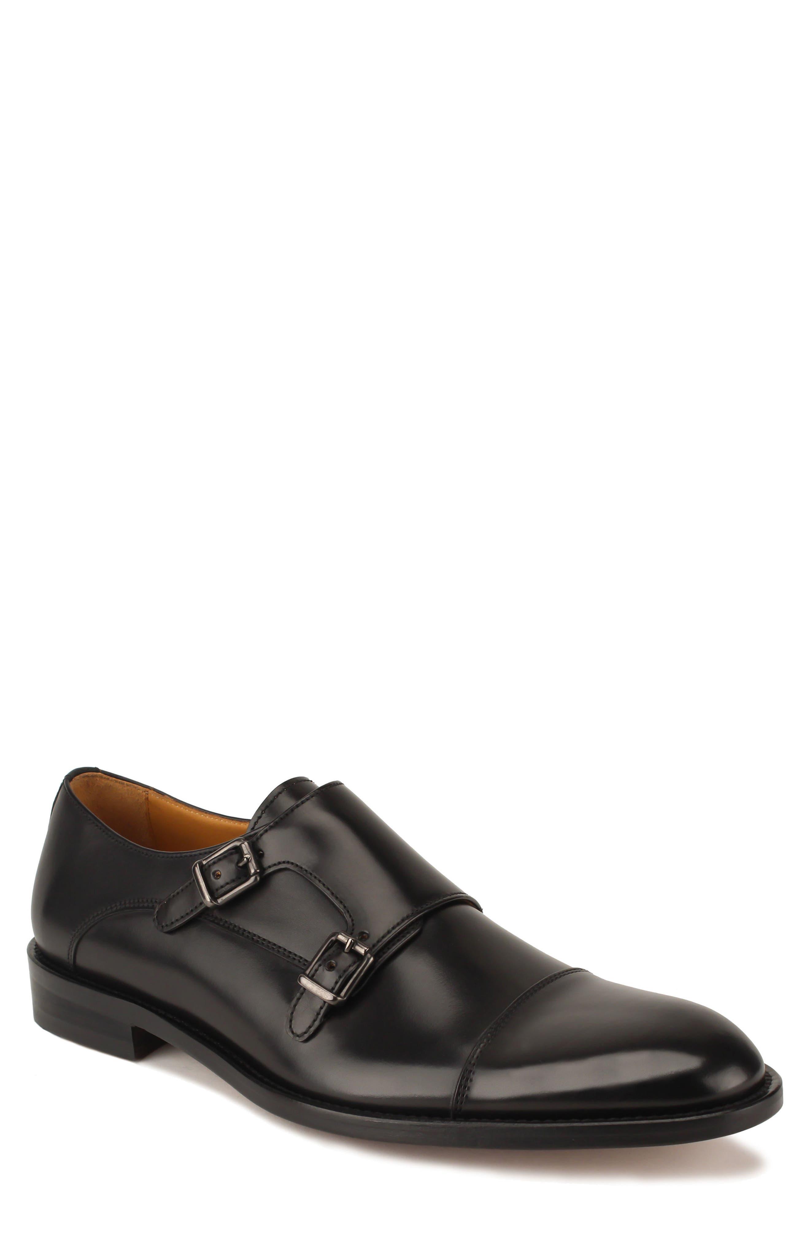 Jay Double Monk Strap Shoe,                         Main,                         color, BLACK LEATHER