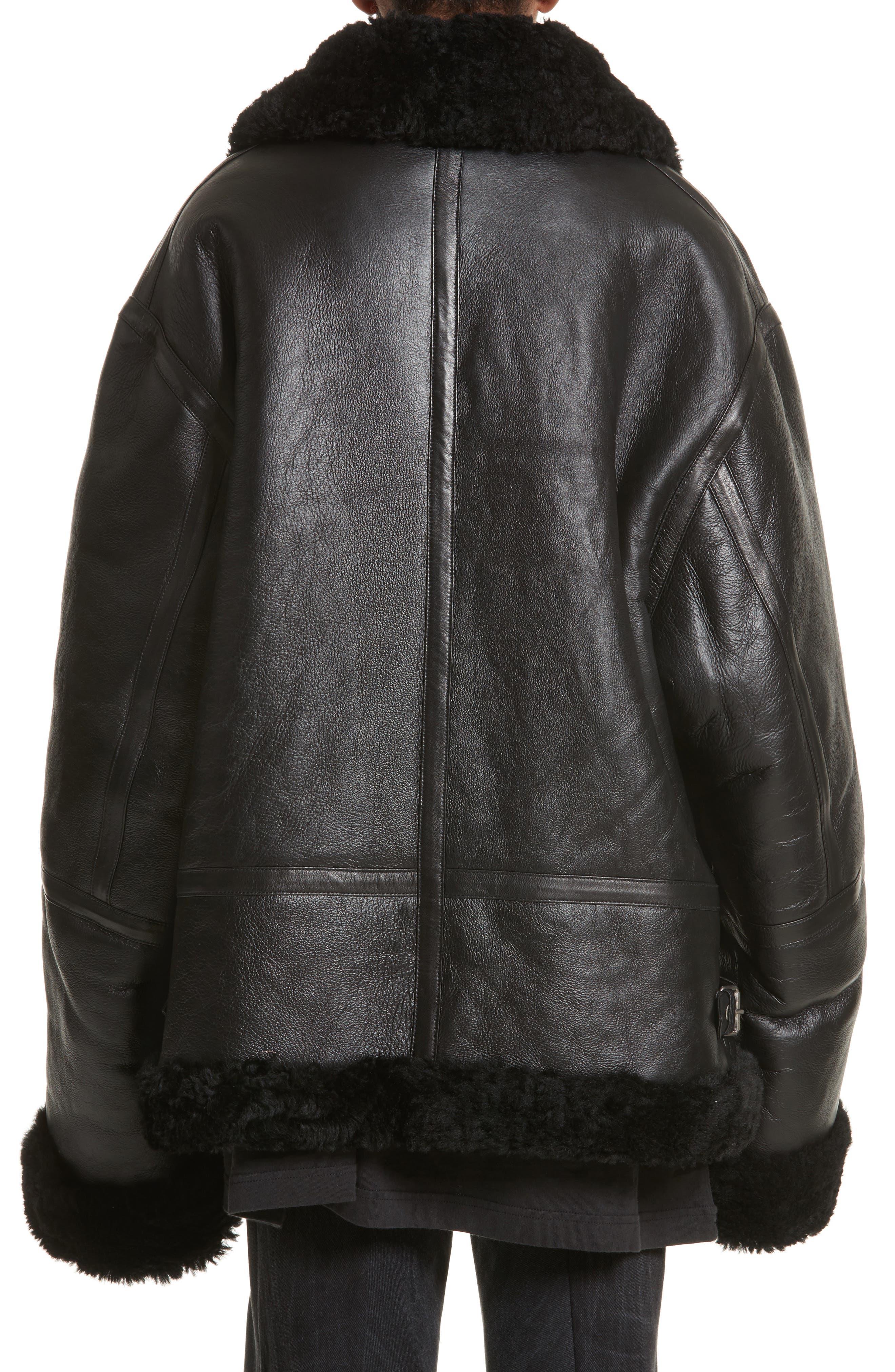 Genuine Shearling Jacket,                             Alternate thumbnail 2, color,                             001