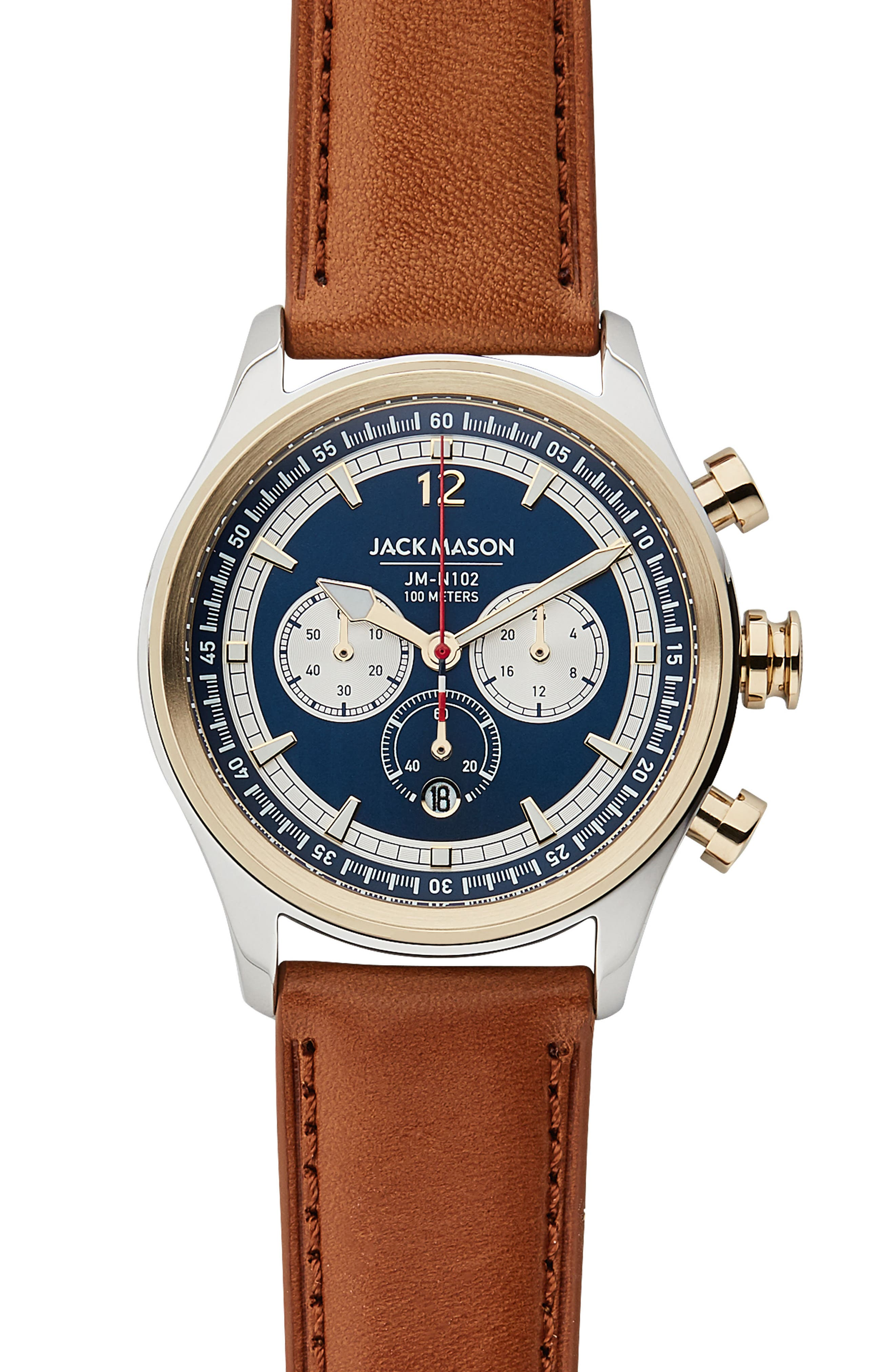 Nautical Chronograph Leather Strap Watch, 42mm,                             Main thumbnail 1, color,                             NAVY/ TAN