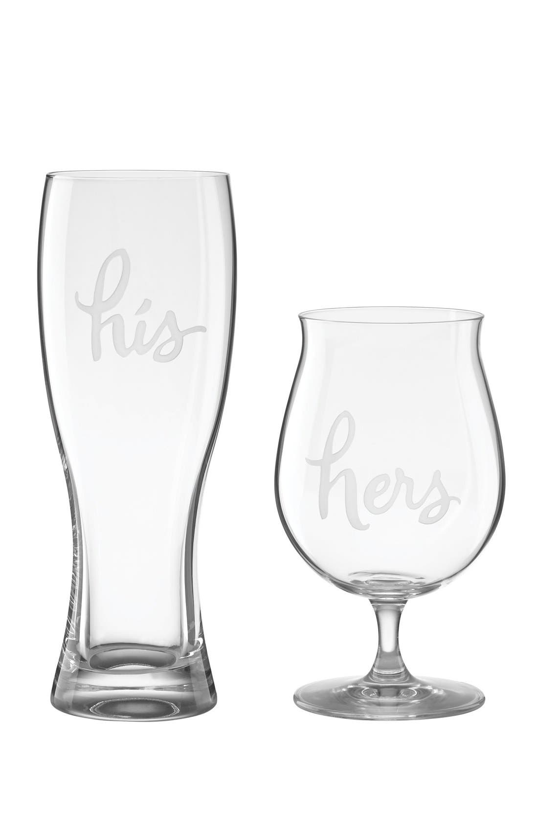 his & hers set of 2 crystal beer glasses,                             Main thumbnail 1, color,                             100