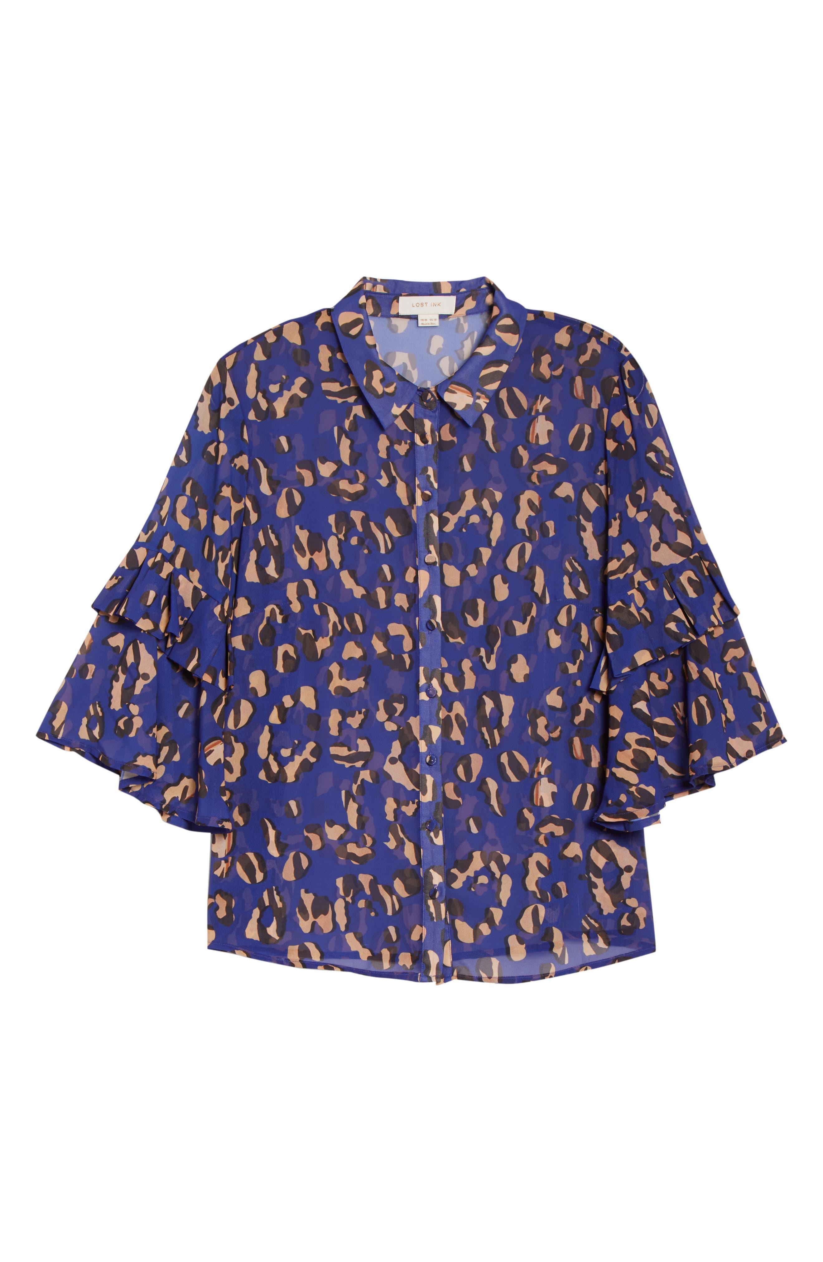 Leopard Print Button Down Shirt,                             Alternate thumbnail 6, color,                             001