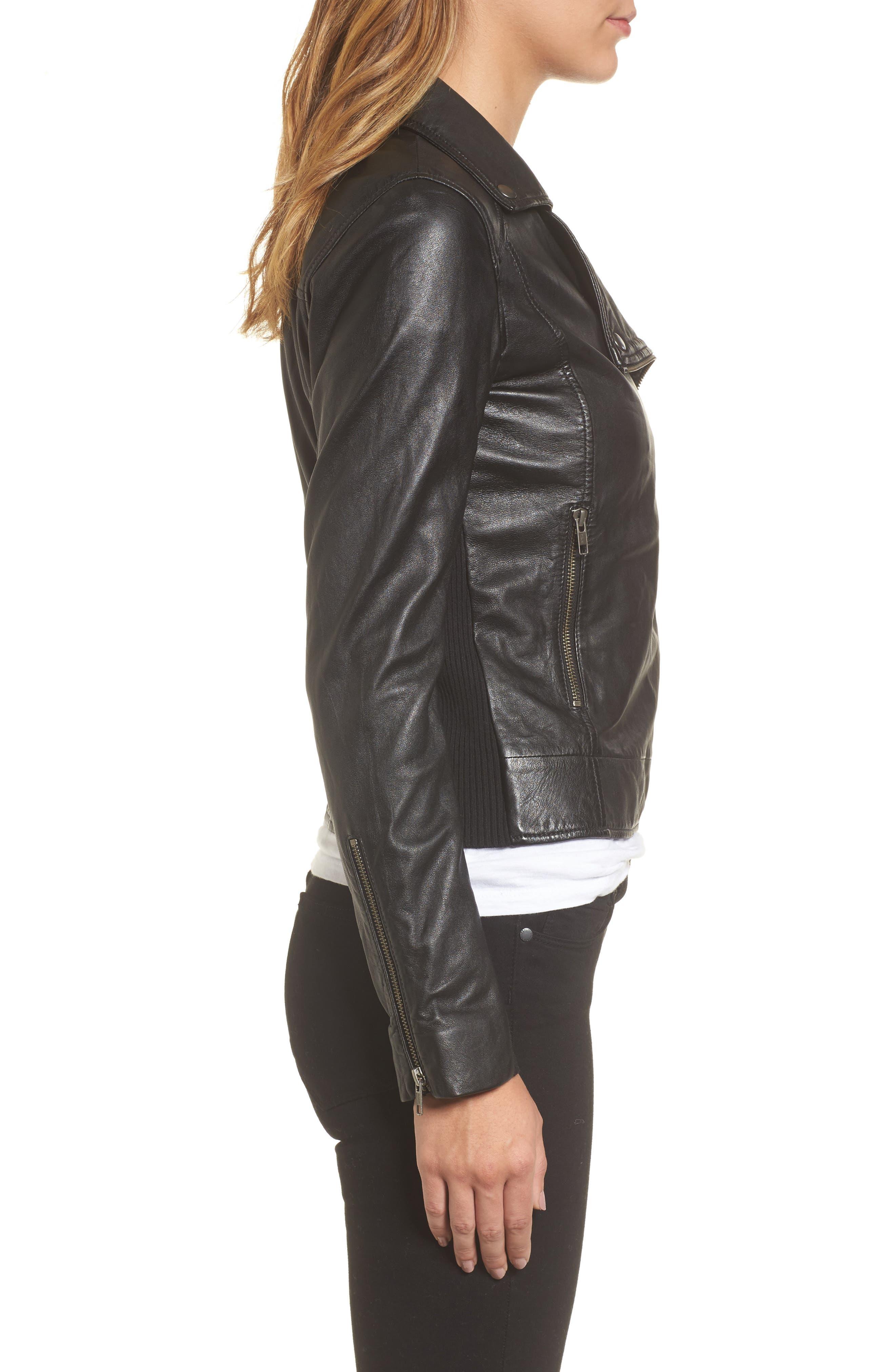 Leather Moto Jacket,                             Alternate thumbnail 3, color,                             001