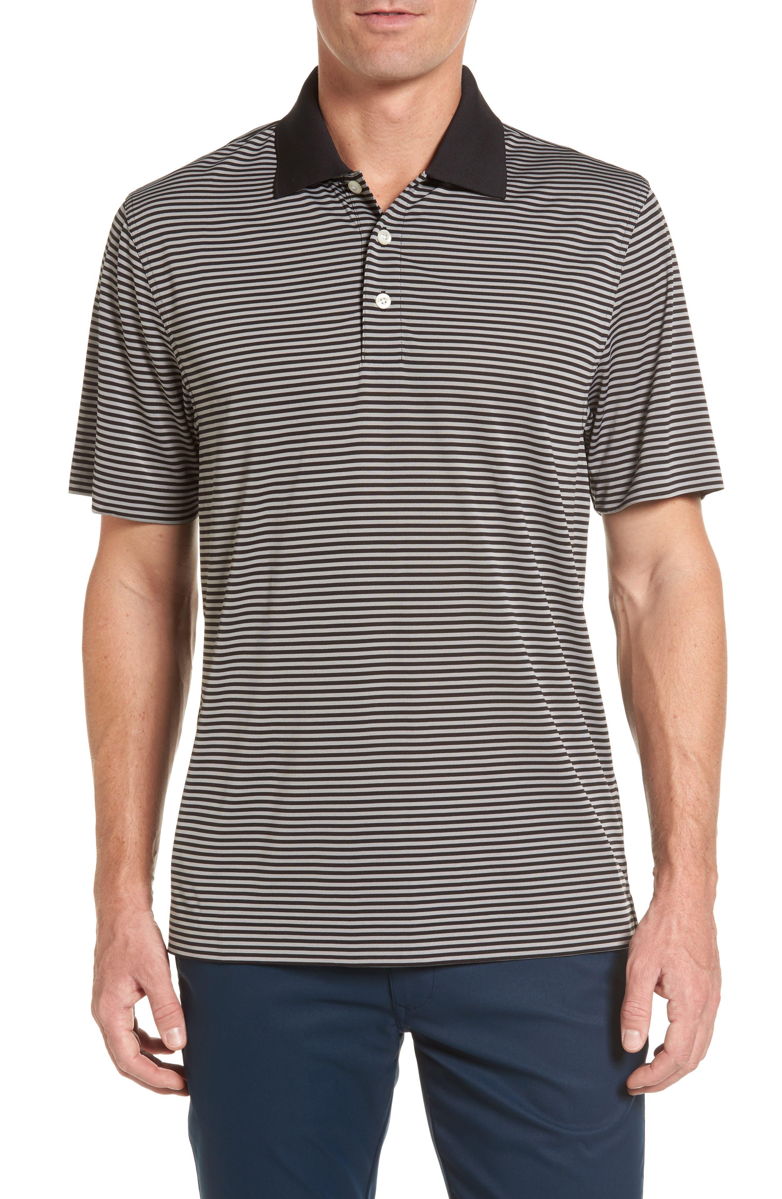 Trevor DryTec Moisture Wicking Golf Polo,                             Main thumbnail 1, color,                             BLACK/ OXIDE