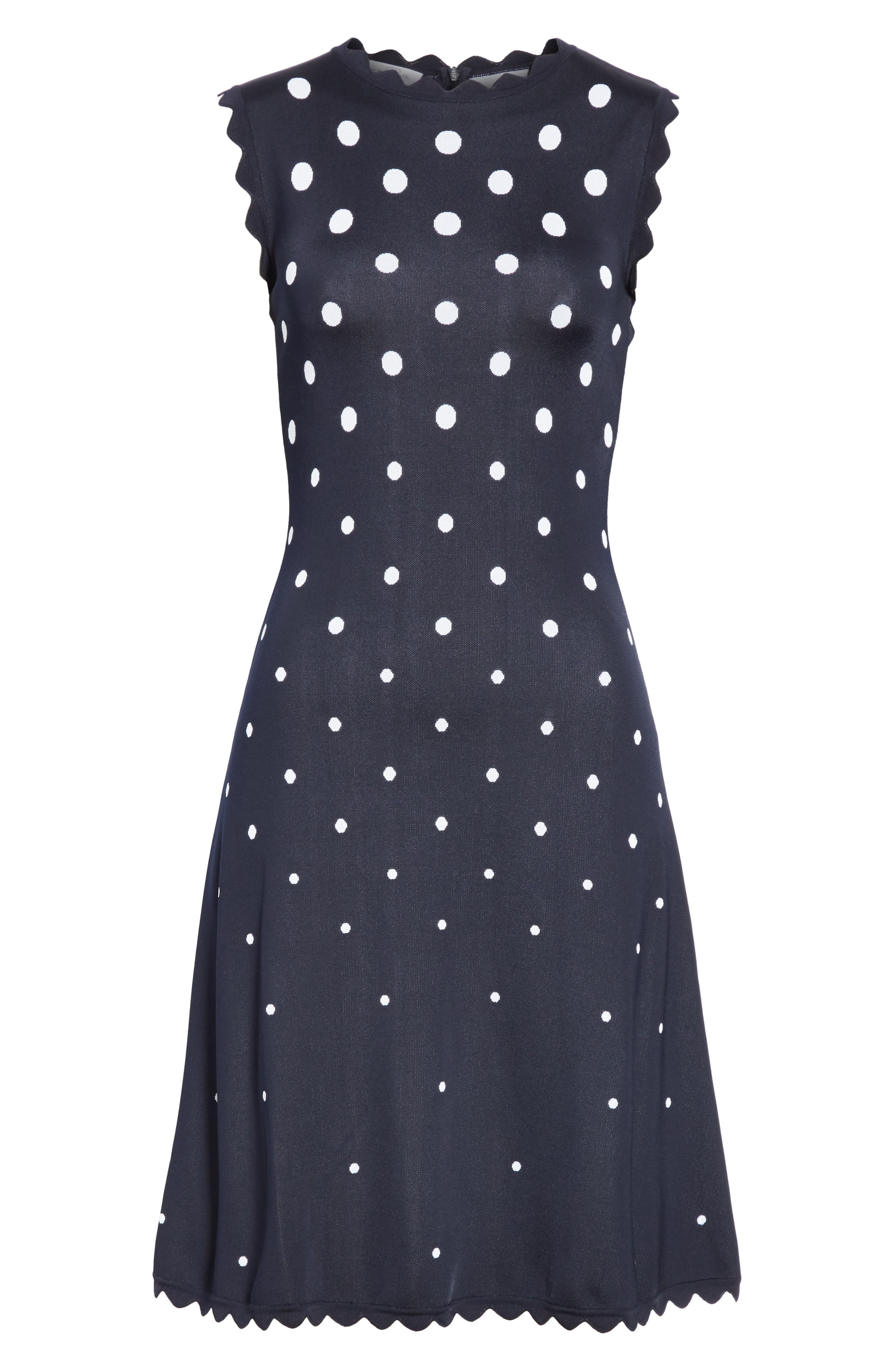 Scallop Edge Polka Dot A-Line Dress,                             Alternate thumbnail 7, color,                             NVW-NAVY/ WHITE