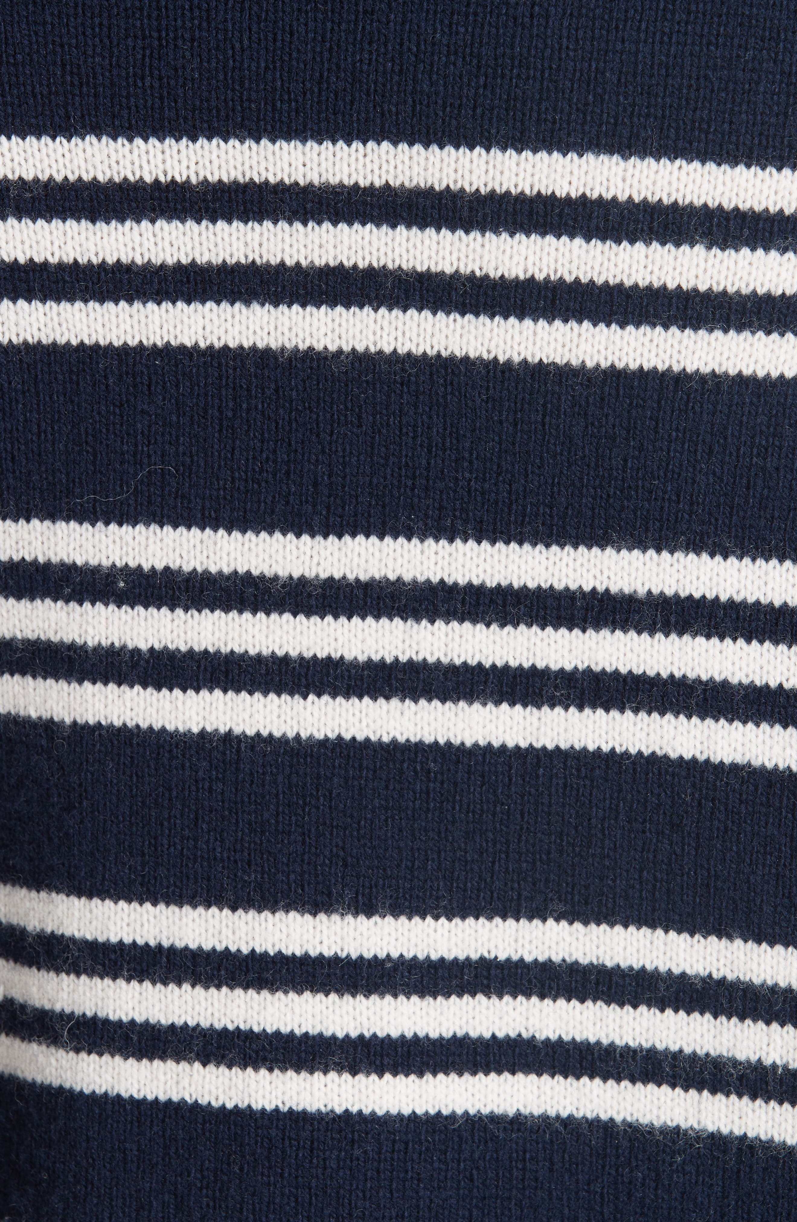 Striped Wool Cotton Blend Blouson Sleeve Sweater,                             Alternate thumbnail 5, color,                             NAVY COMBO