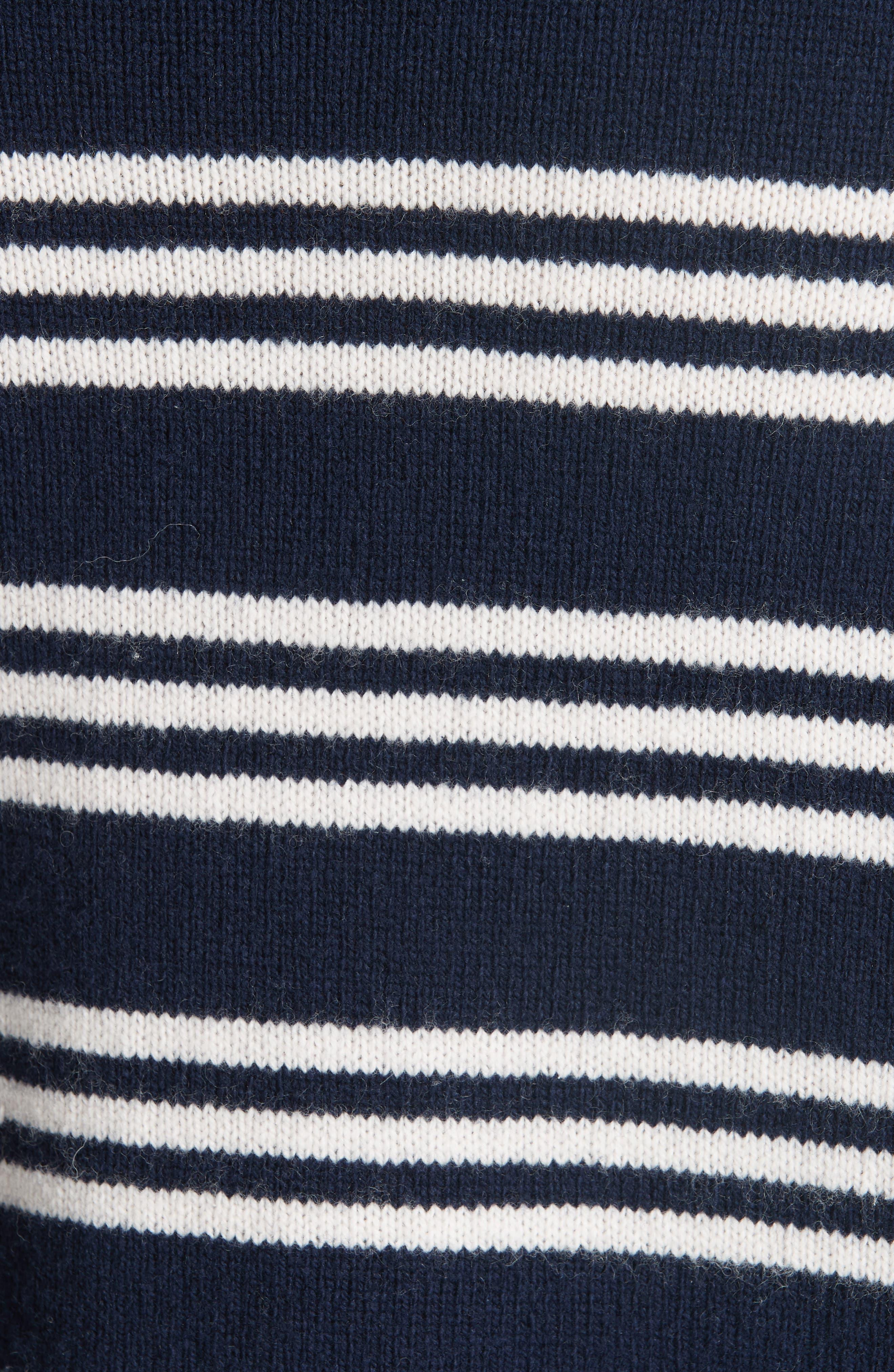 Striped Wool Cotton Blend Blouson Sleeve Sweater,                             Alternate thumbnail 5, color,                             482