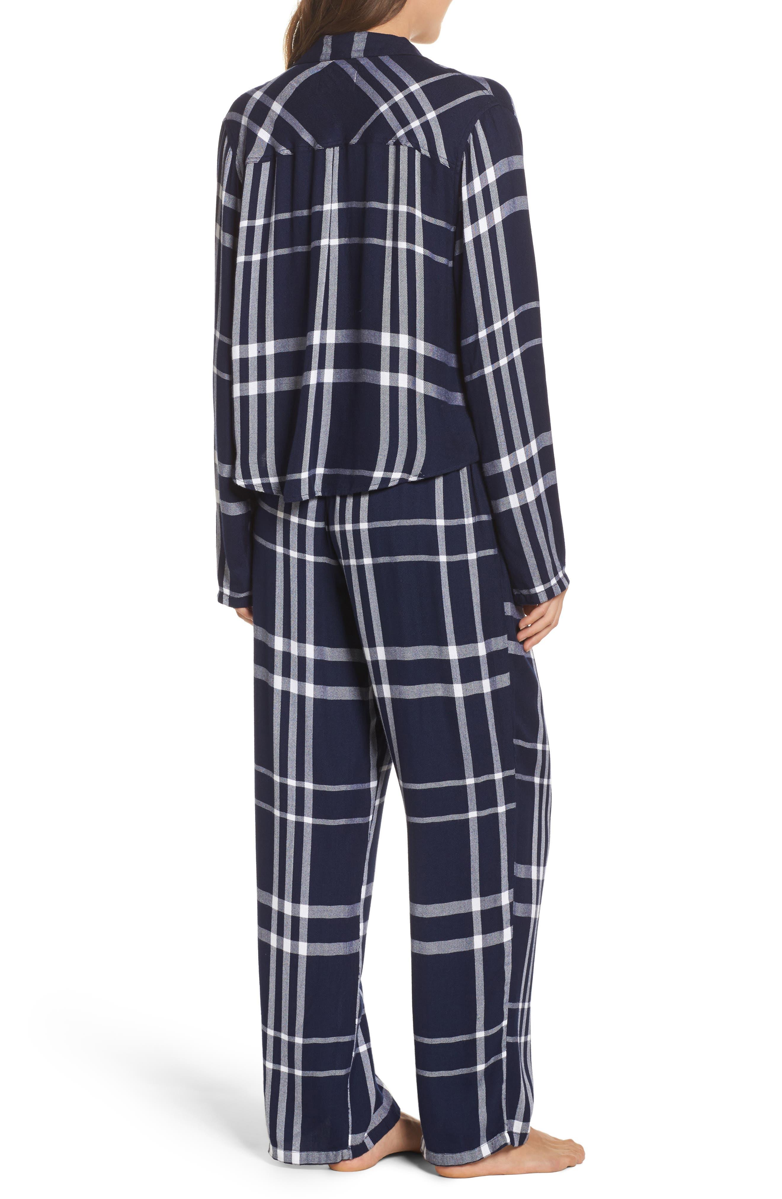 Plaid Pajamas,                             Alternate thumbnail 2, color,                             CADET/ WHITE