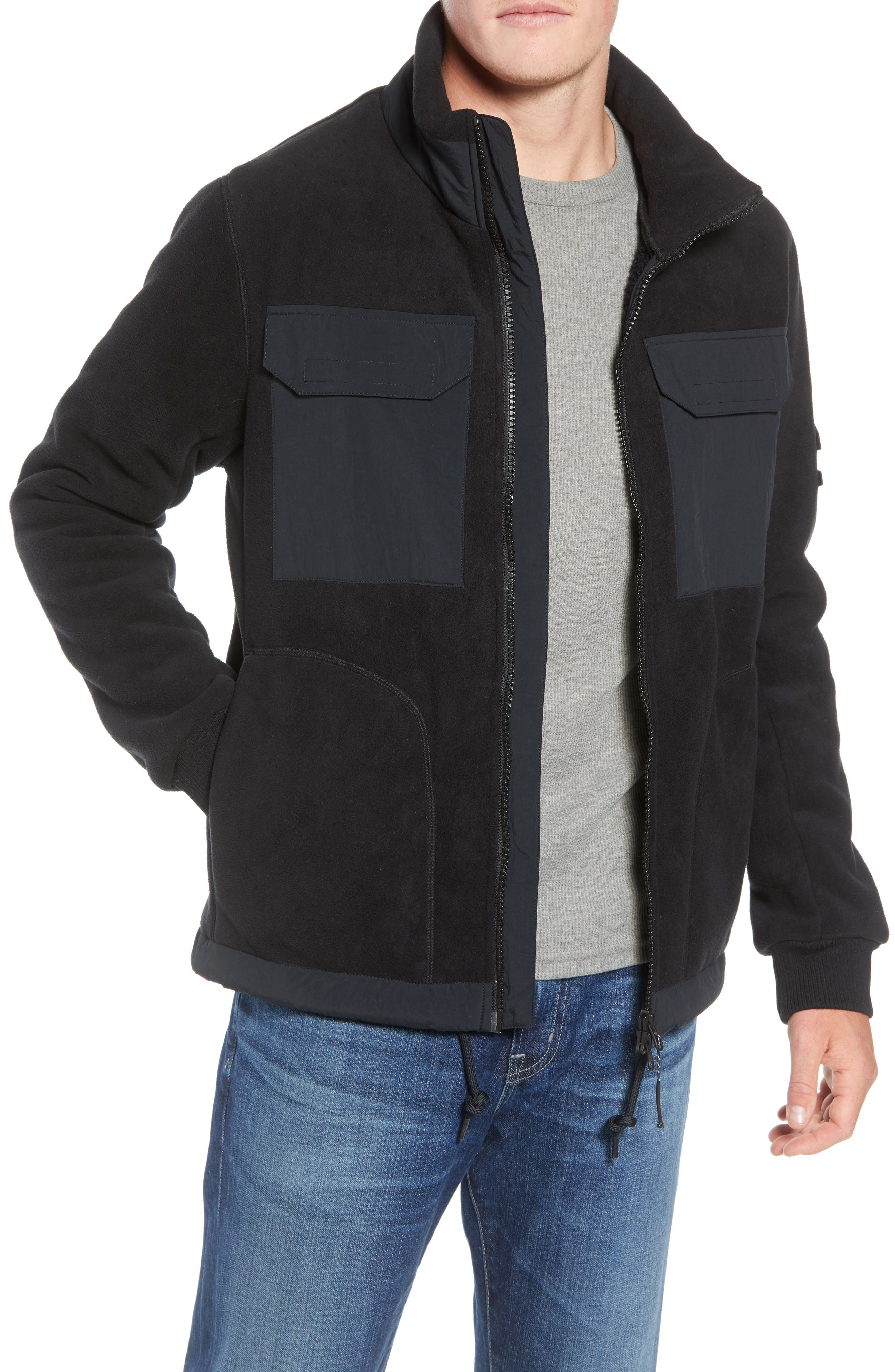 Schoening Zip Fleece Jacket,                             Main thumbnail 1, color,                             BLACK