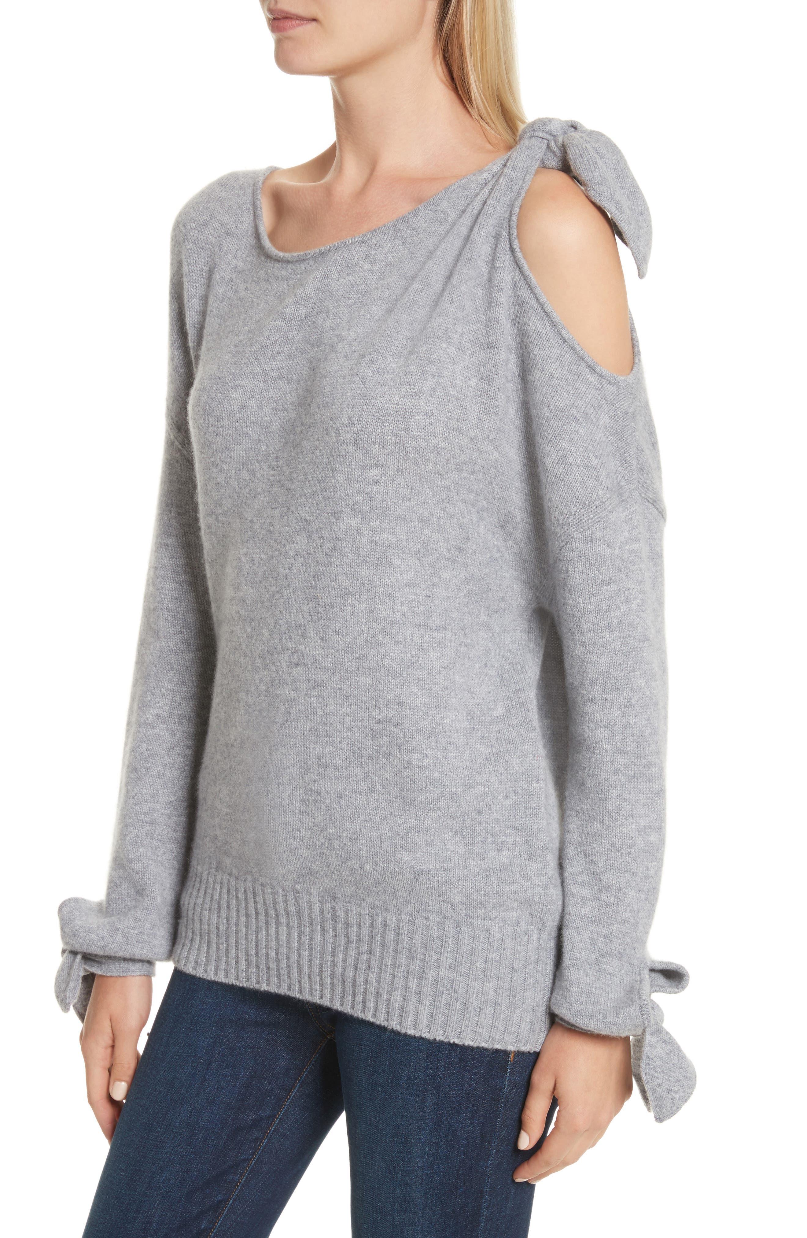 Tie Detail Cashmere Sweater,                             Alternate thumbnail 4, color,