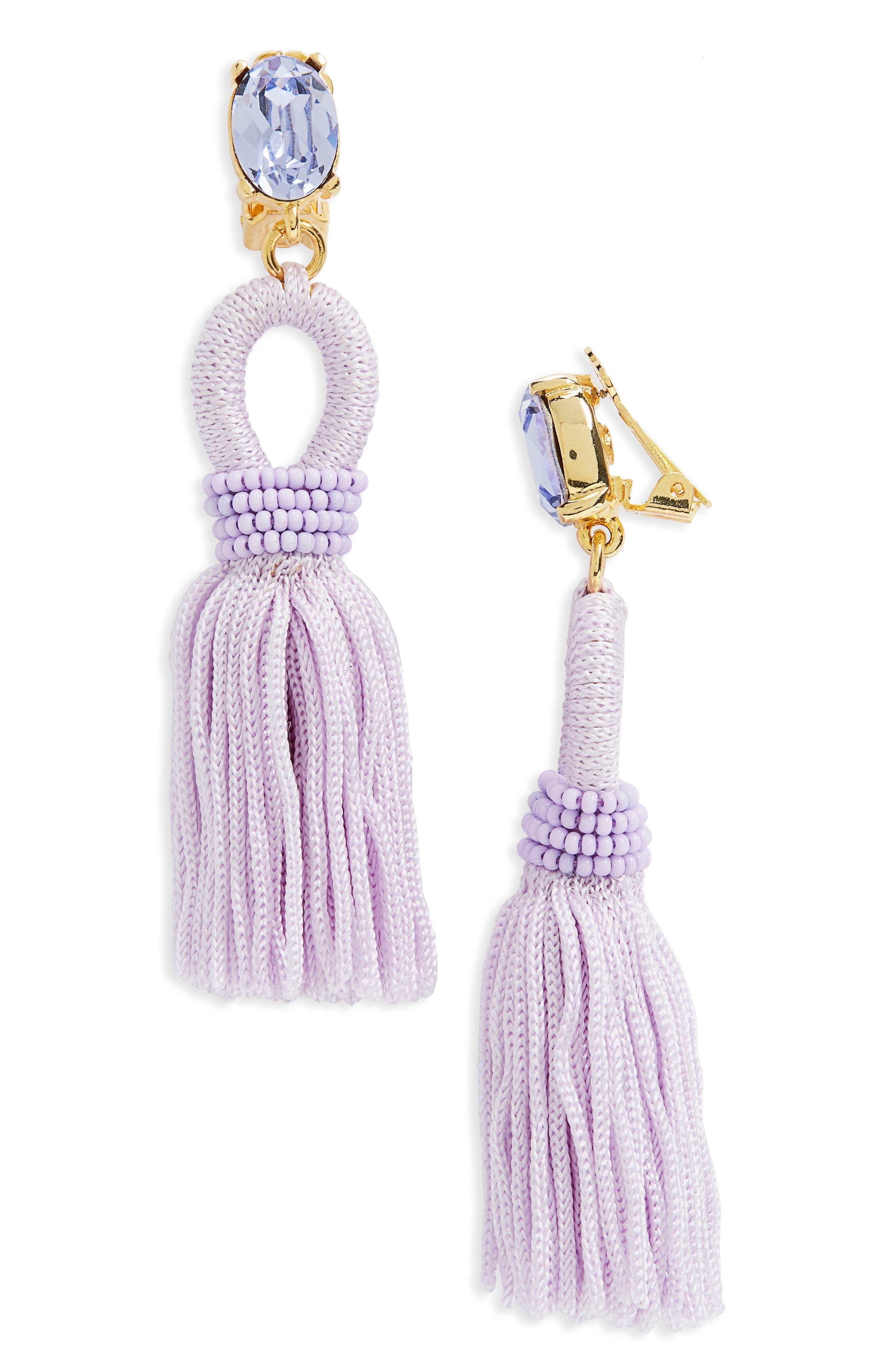 Silk Tassel Drop Earrings,                             Main thumbnail 7, color,