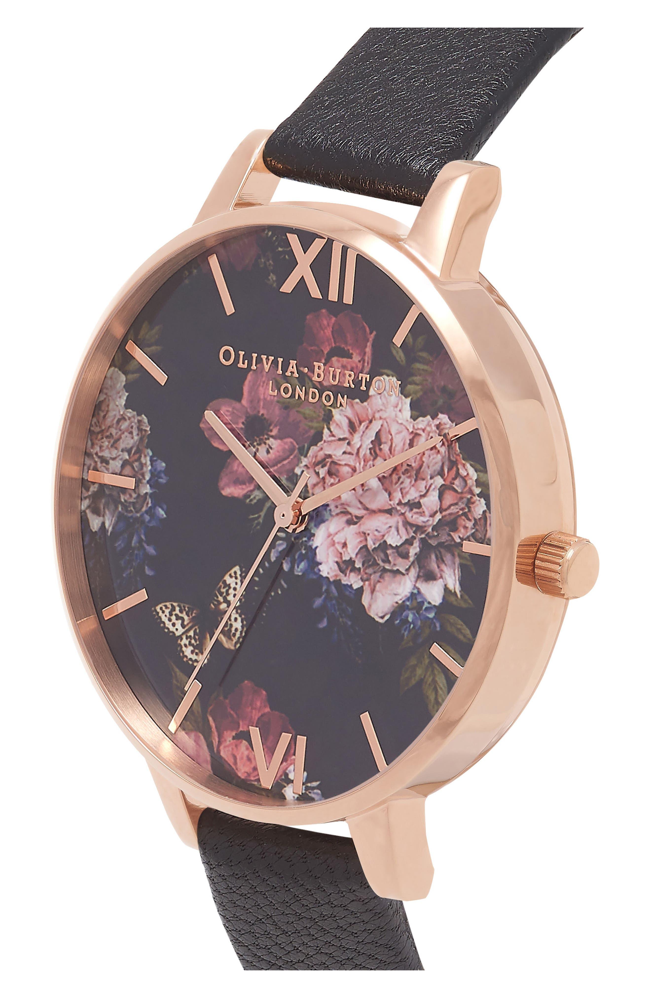 Dark Bouquet Leather Strap Watch, 38mm,                             Alternate thumbnail 3, color,                             BLACK/ FLORAL/ ROSE GOLD