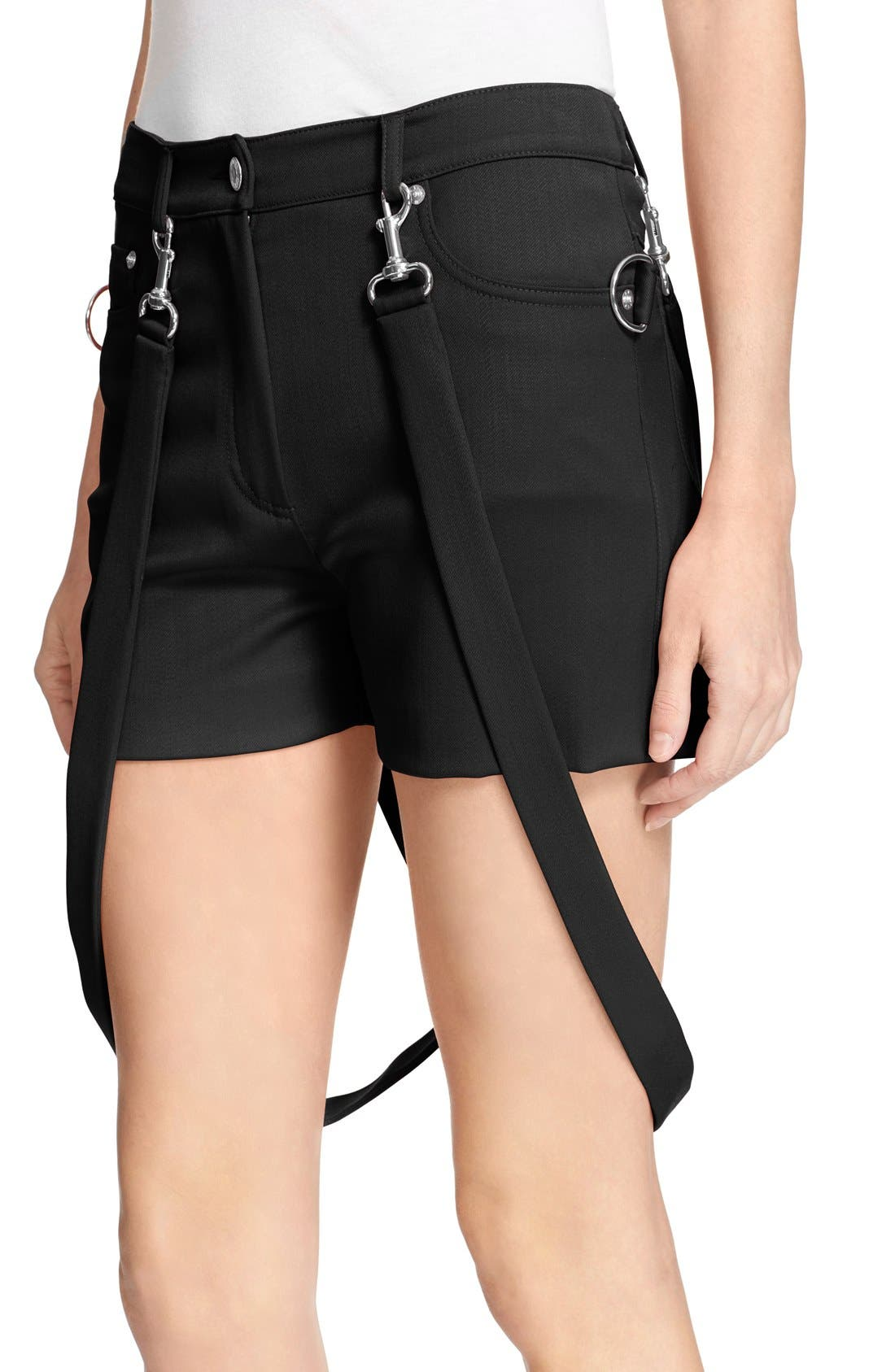 Pleated Overlay Shorts with Suspenders,                             Alternate thumbnail 3, color,                             001