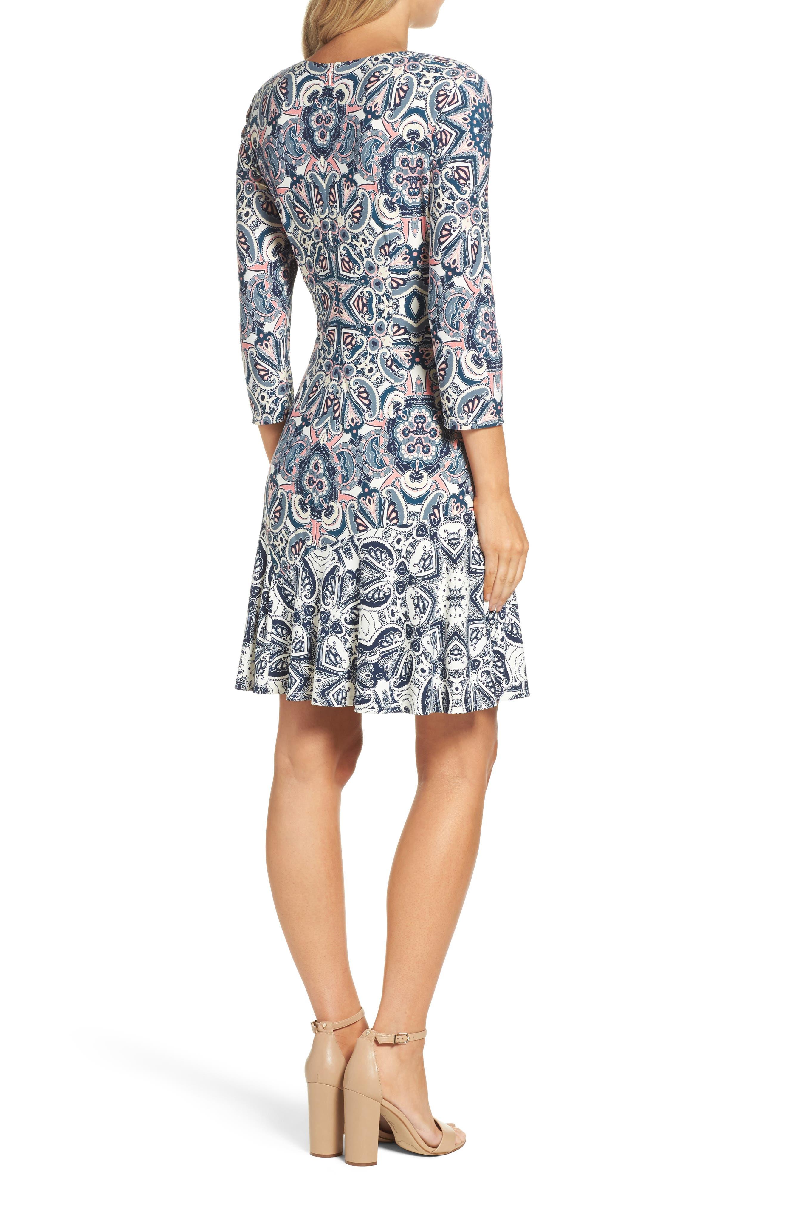 ELIZA J,                             Print Knit A-Line Dress,                             Alternate thumbnail 2, color,                             TEAL
