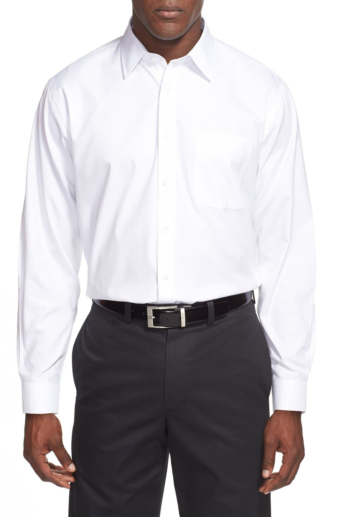 Smartcare<sup>™</sup> Traditional Fit Dress Shirt,                             Alternate thumbnail 4, color,                             WHITE
