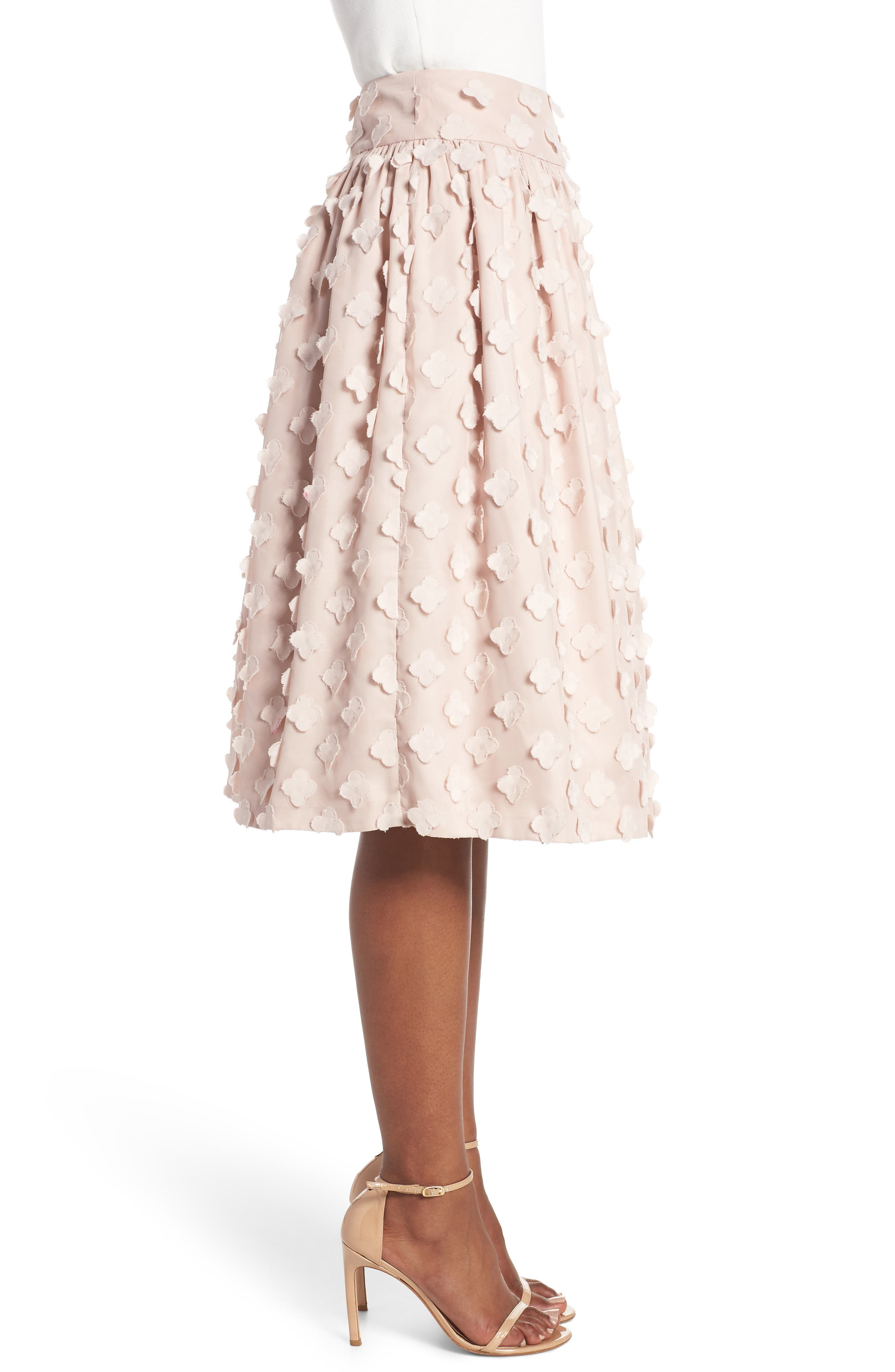 Flower Texture Gathered Skirt,                             Alternate thumbnail 3, color,                             BLUSH