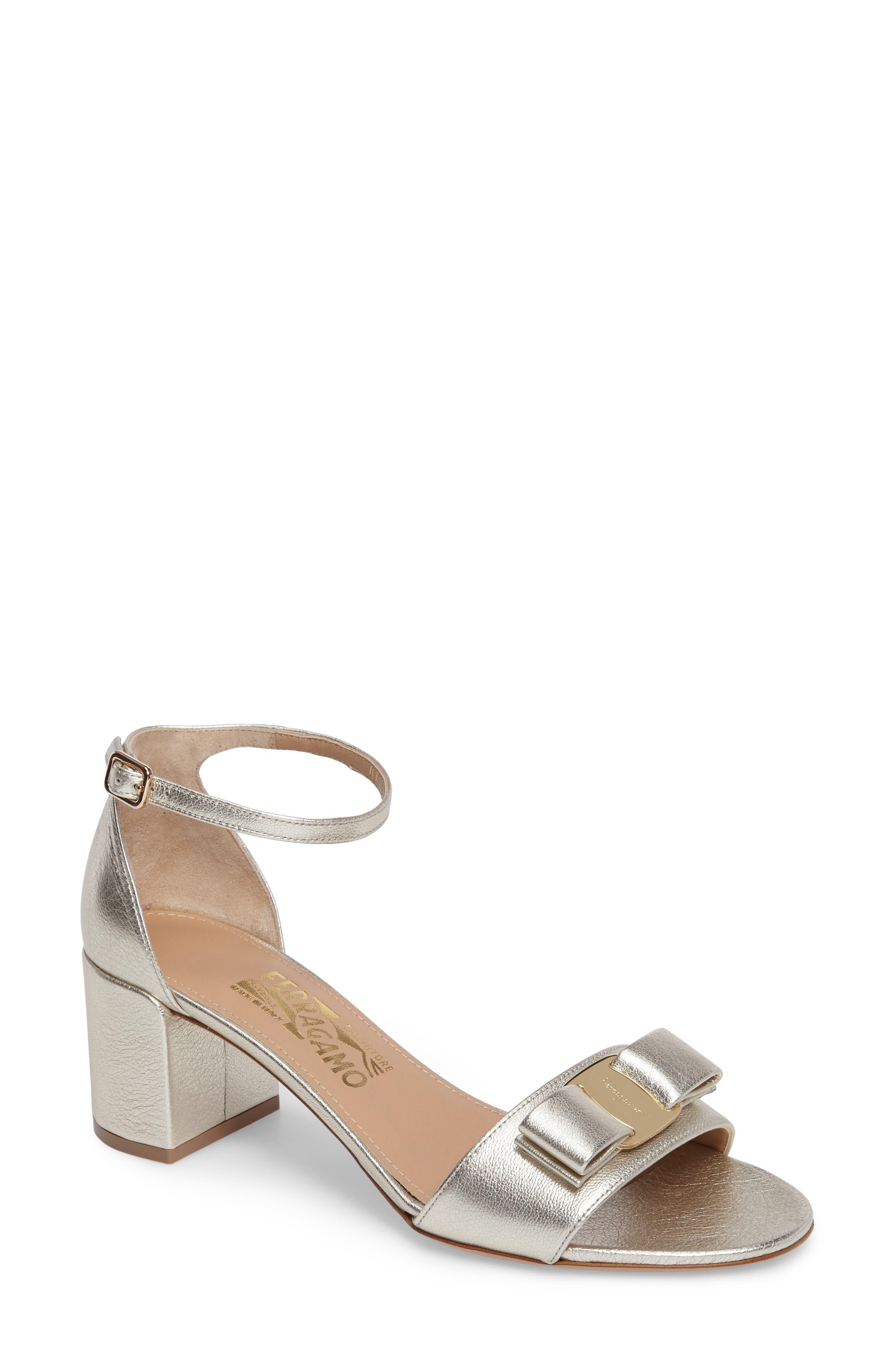 Gavina Block Heel Bow Sandal,                         Main,                         color, METALLIC SILVER