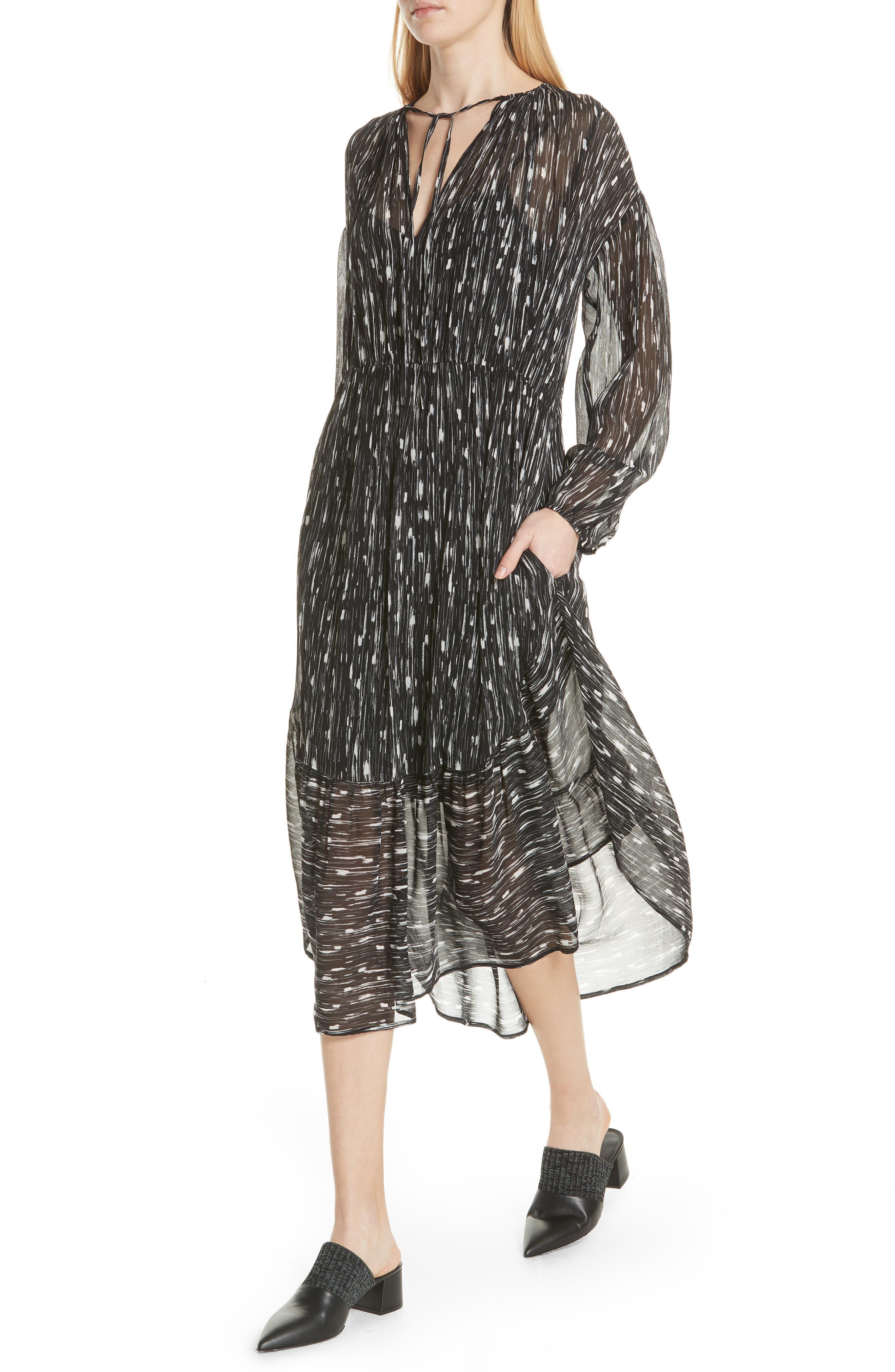 VINCE,                             Brushstroke Silk Chiffon Dress,                             Alternate thumbnail 4, color,                             001