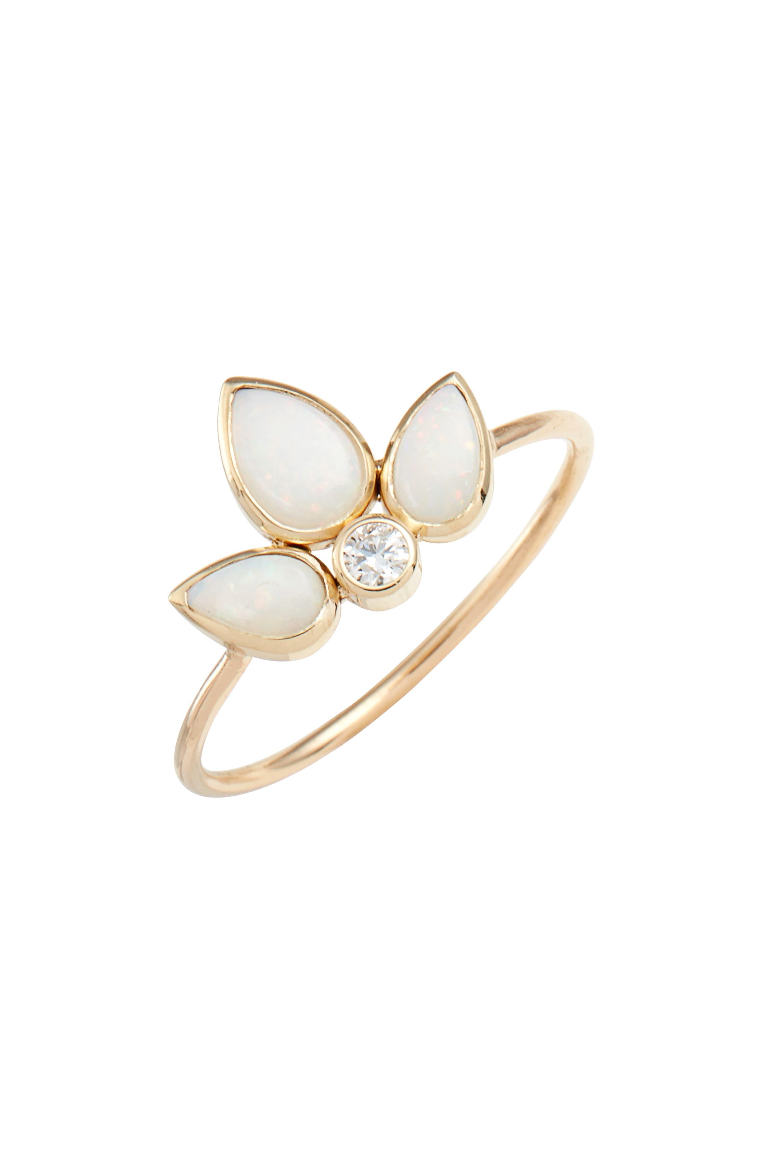 Diamond Bezel Ring,                             Main thumbnail 1, color,                             YELLOW GOLD/ OPAL