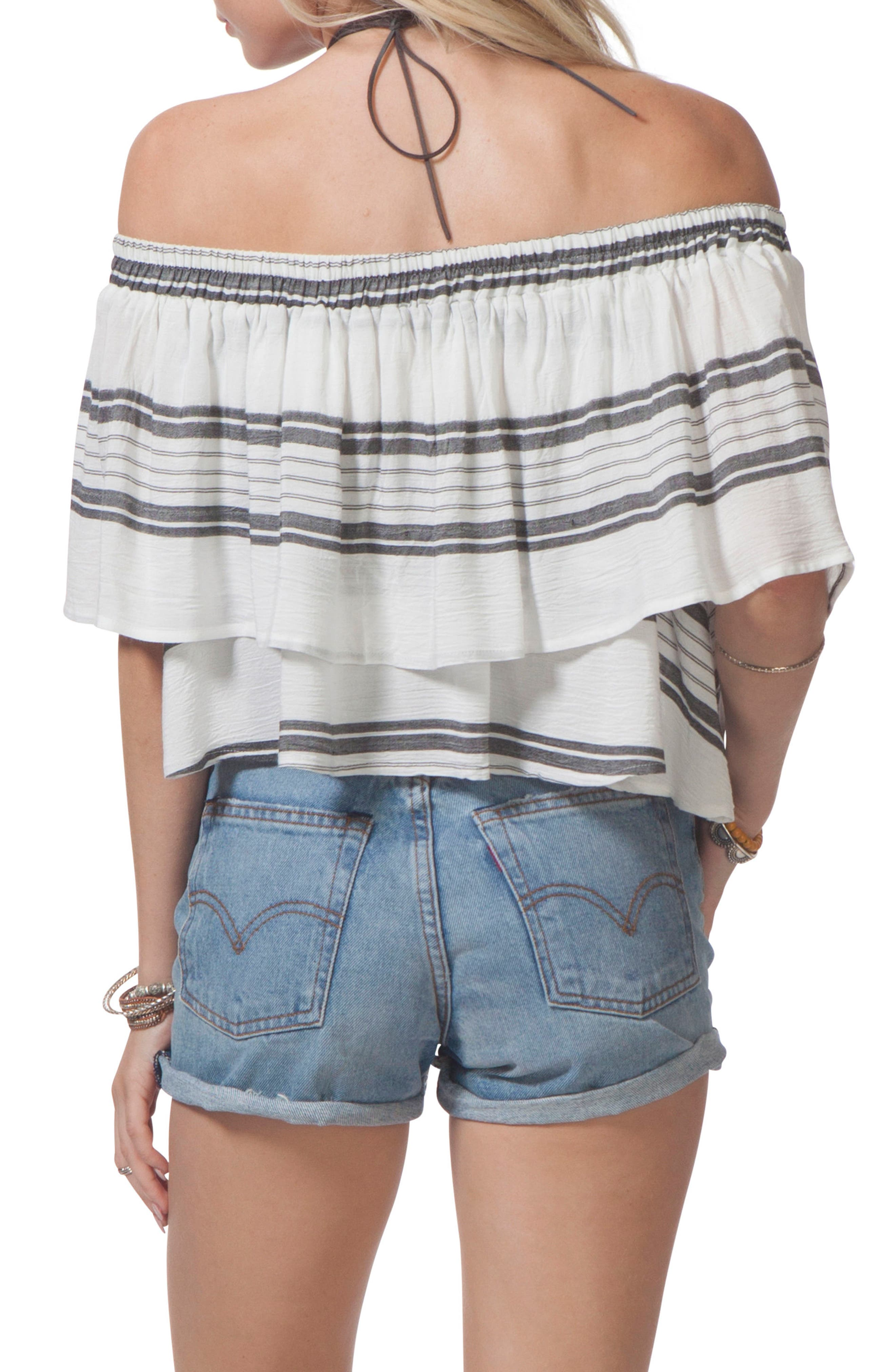 Soulmate Off the Shoulder Ruffle Top,                             Alternate thumbnail 2, color,                             100