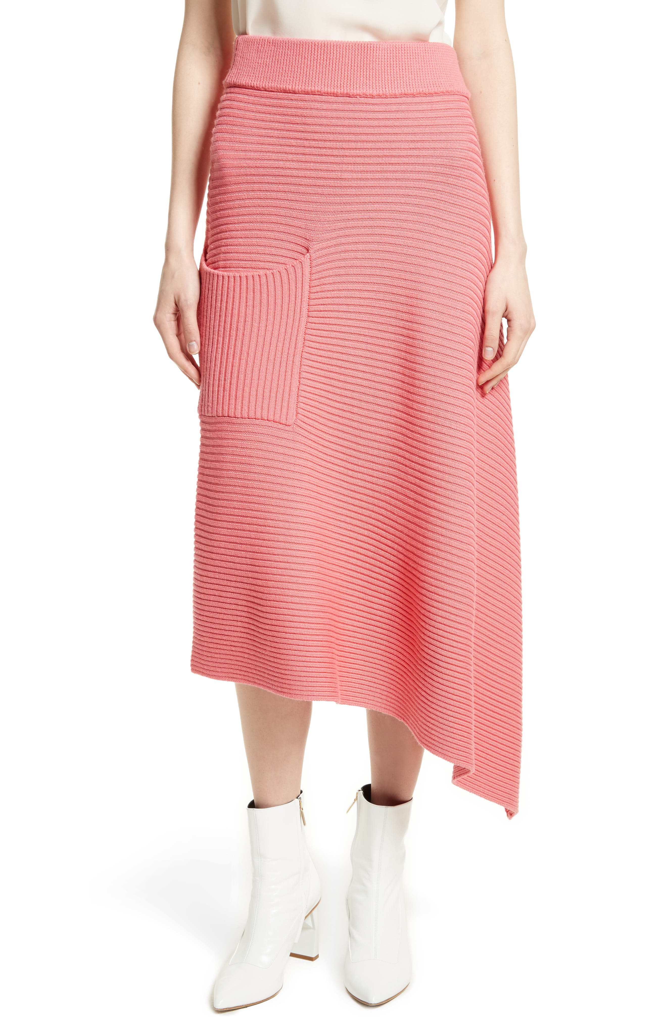 Asymmetrical Rib Merino Wool Skirt,                             Main thumbnail 1, color,                             650