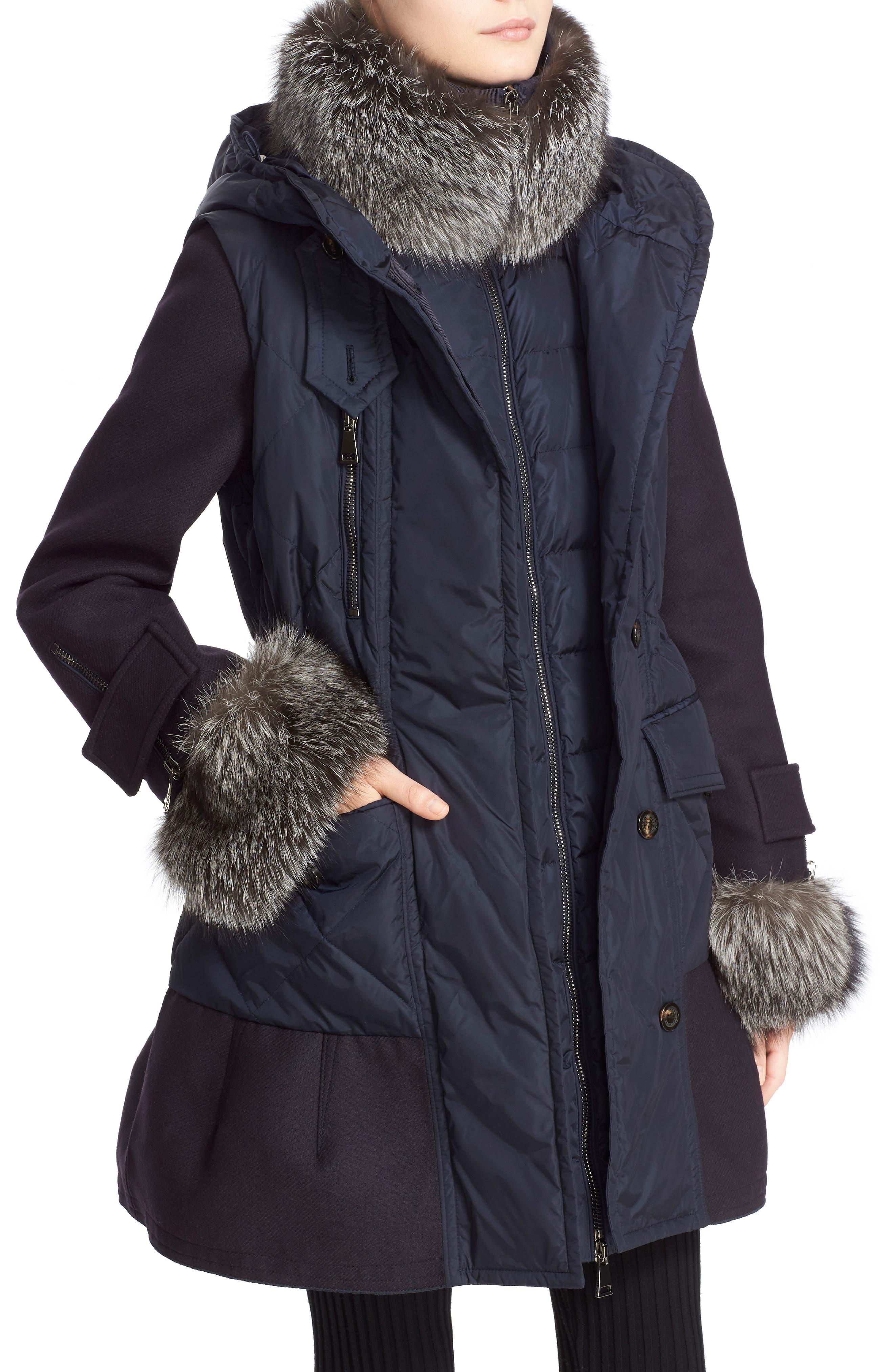 'Elestoria' Two-Piece Down Puffer Coat with Genuine Fox Fur Trim,                             Alternate thumbnail 4, color,                             419