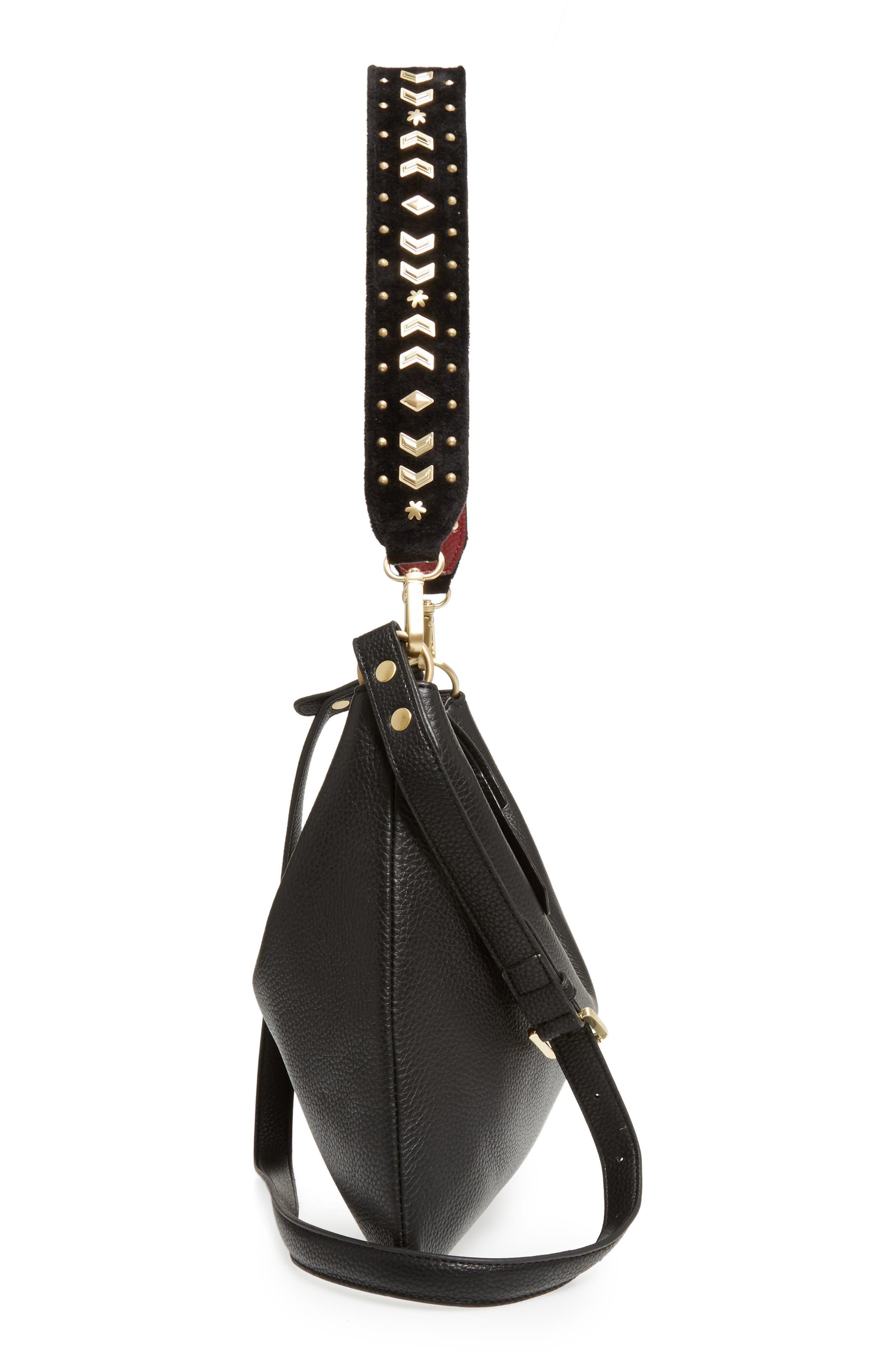Raelyn Leather Shoulder Bag,                             Alternate thumbnail 5, color,                             001