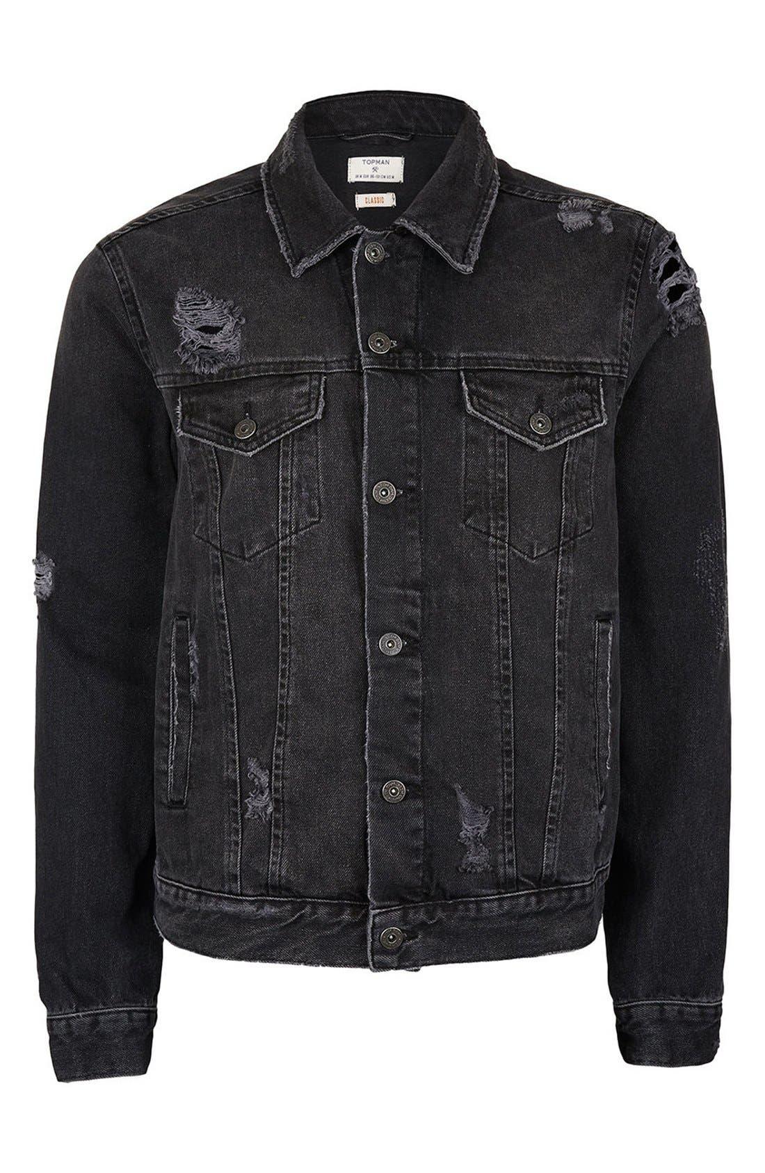 Distressed Denim Jacket,                             Alternate thumbnail 10, color,                             001