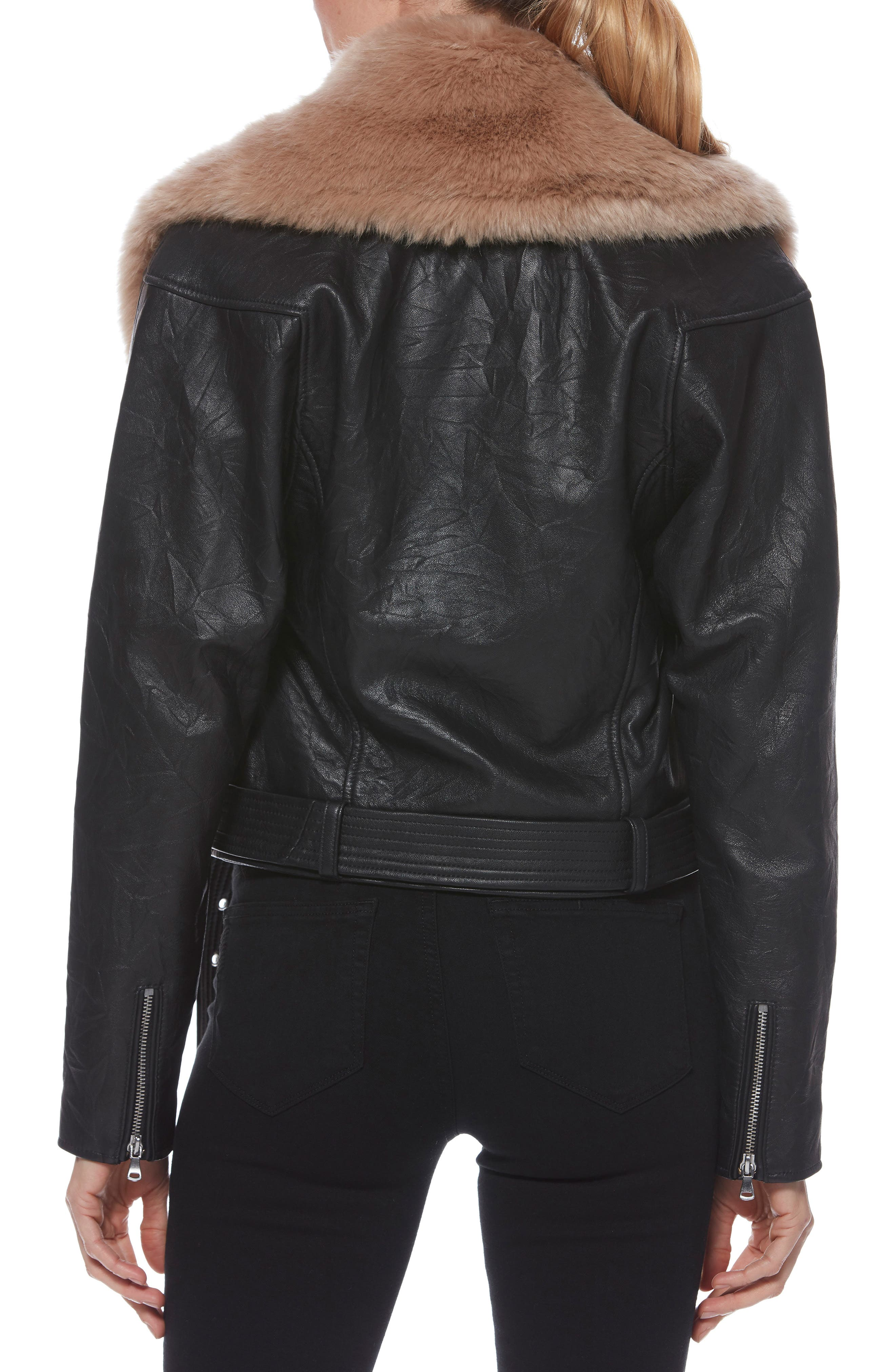 Rizza Lambskin Leather Moto Jacket with Removable Faux Fur Collar,                             Alternate thumbnail 3, color,                             BLACK