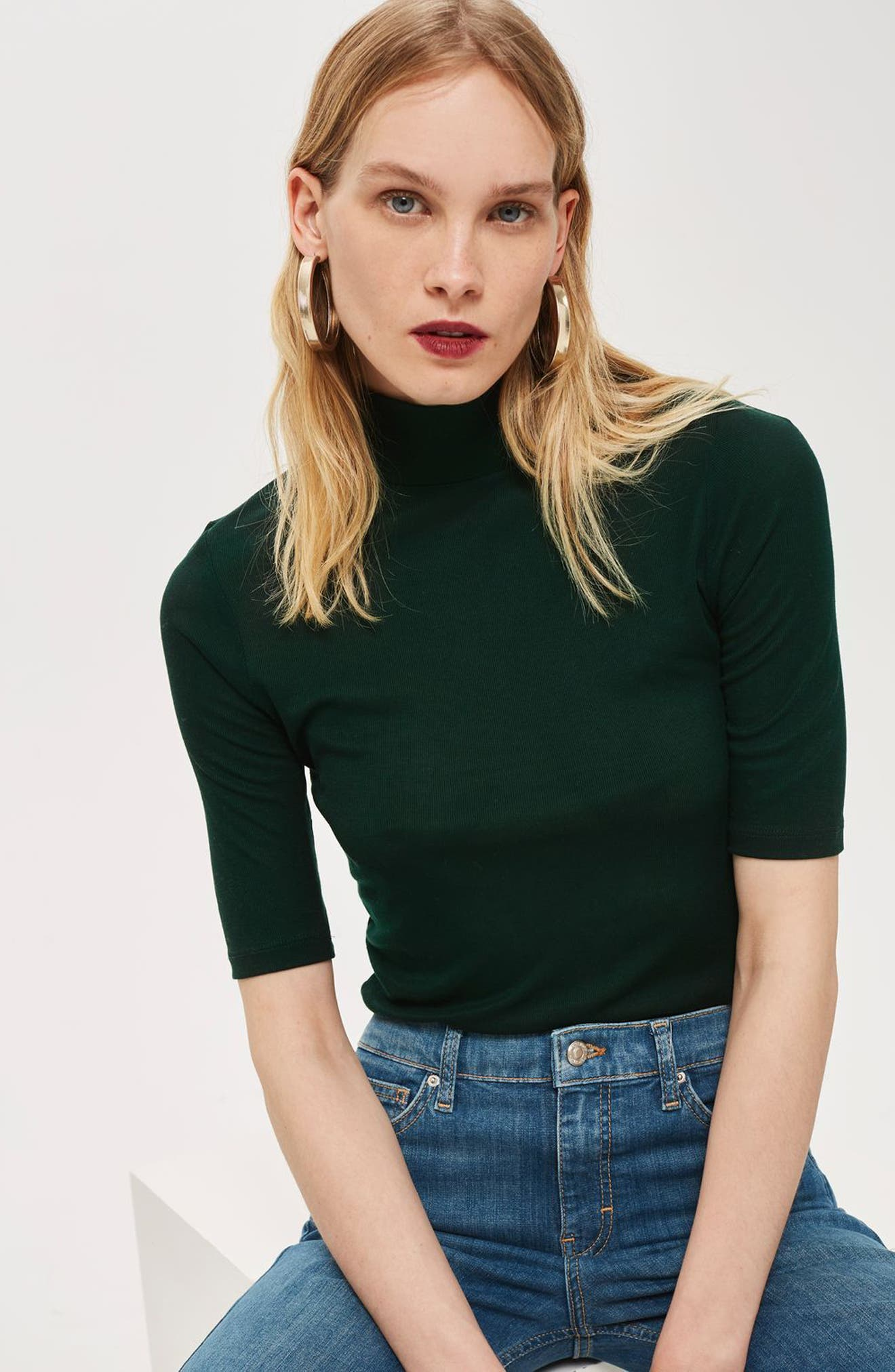 Elbow Sleeve Turtleneck Top,                             Alternate thumbnail 4, color,                             300