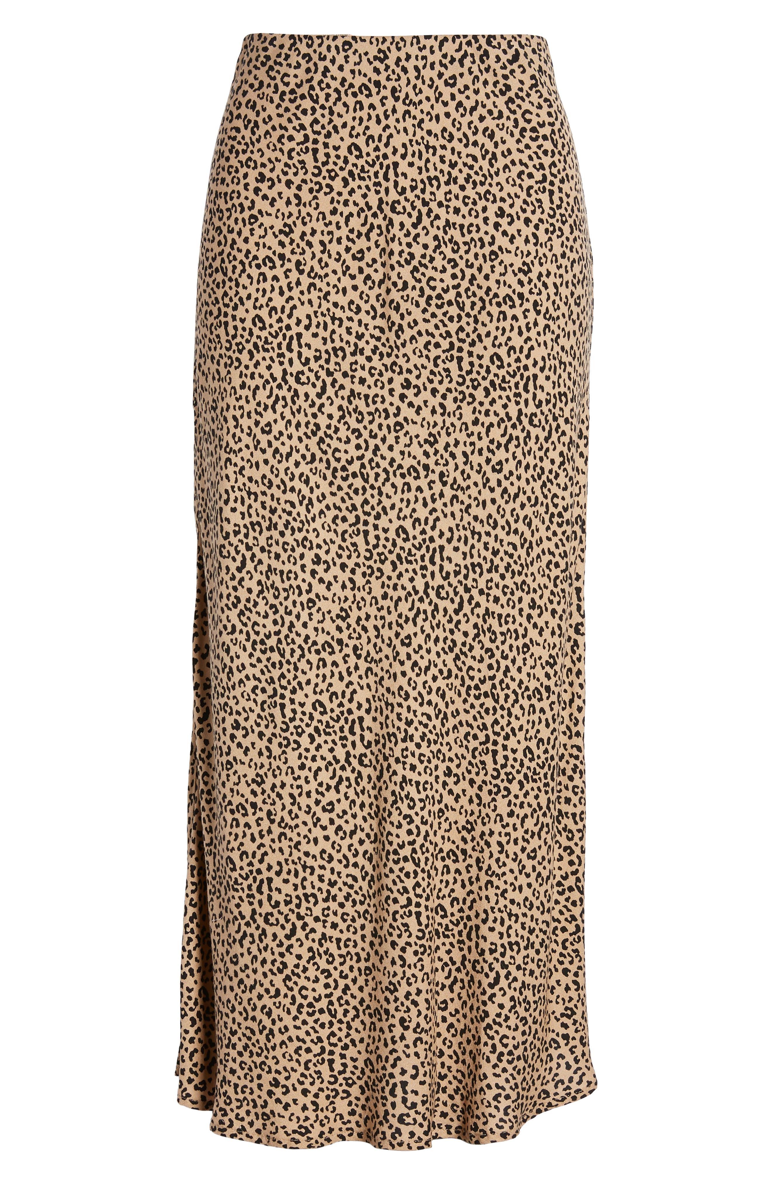 LOVE, FIRE,                             Leopard Midi Skirt,                             Alternate thumbnail 6, color,                             LEOPARD