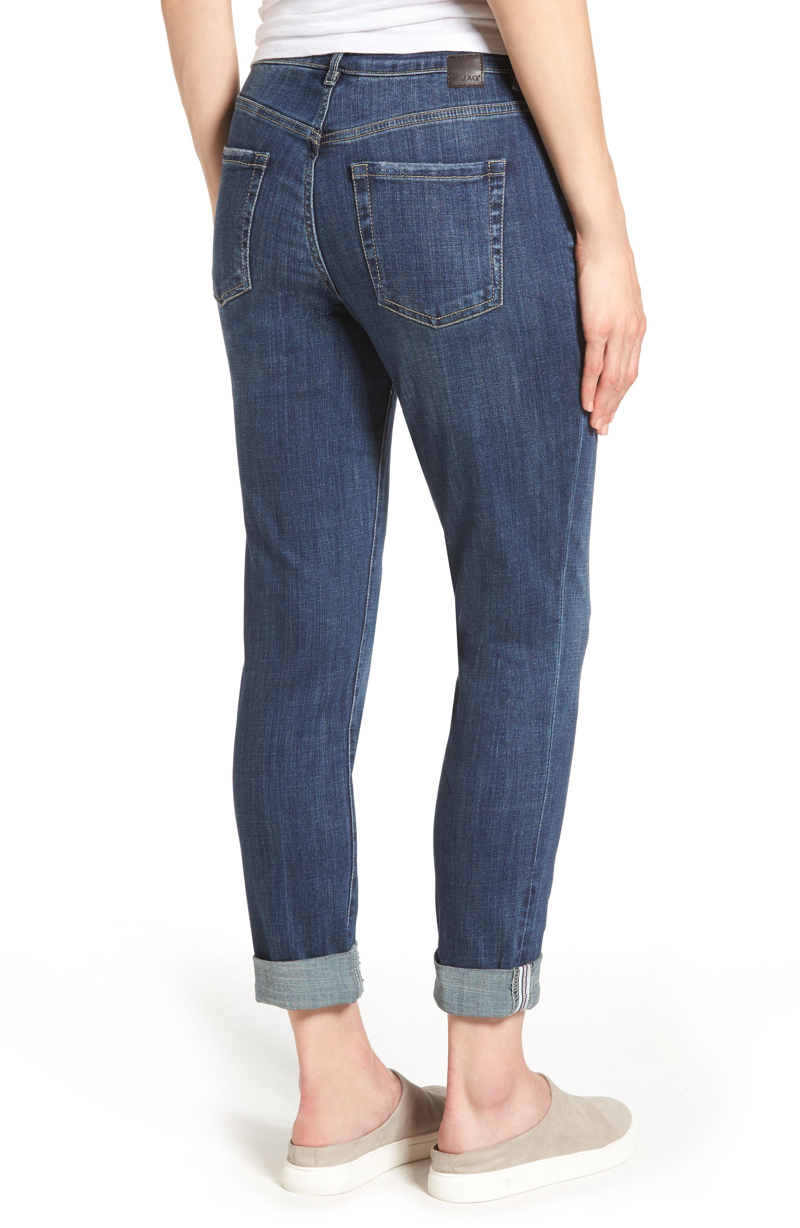 Carter Cuffed Stretch Girlfriend Jeans,                             Alternate thumbnail 2, color,                             MEDIUM INDIGO