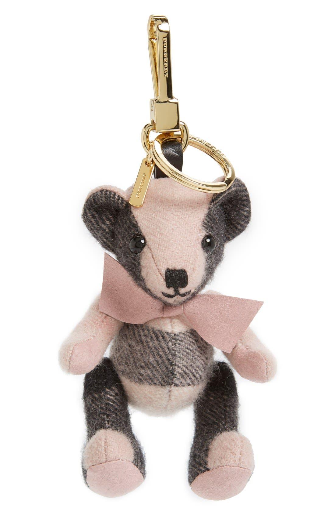 'Thomas' Check Bear Cashmere Bag Charm,                             Main thumbnail 1, color,                             650