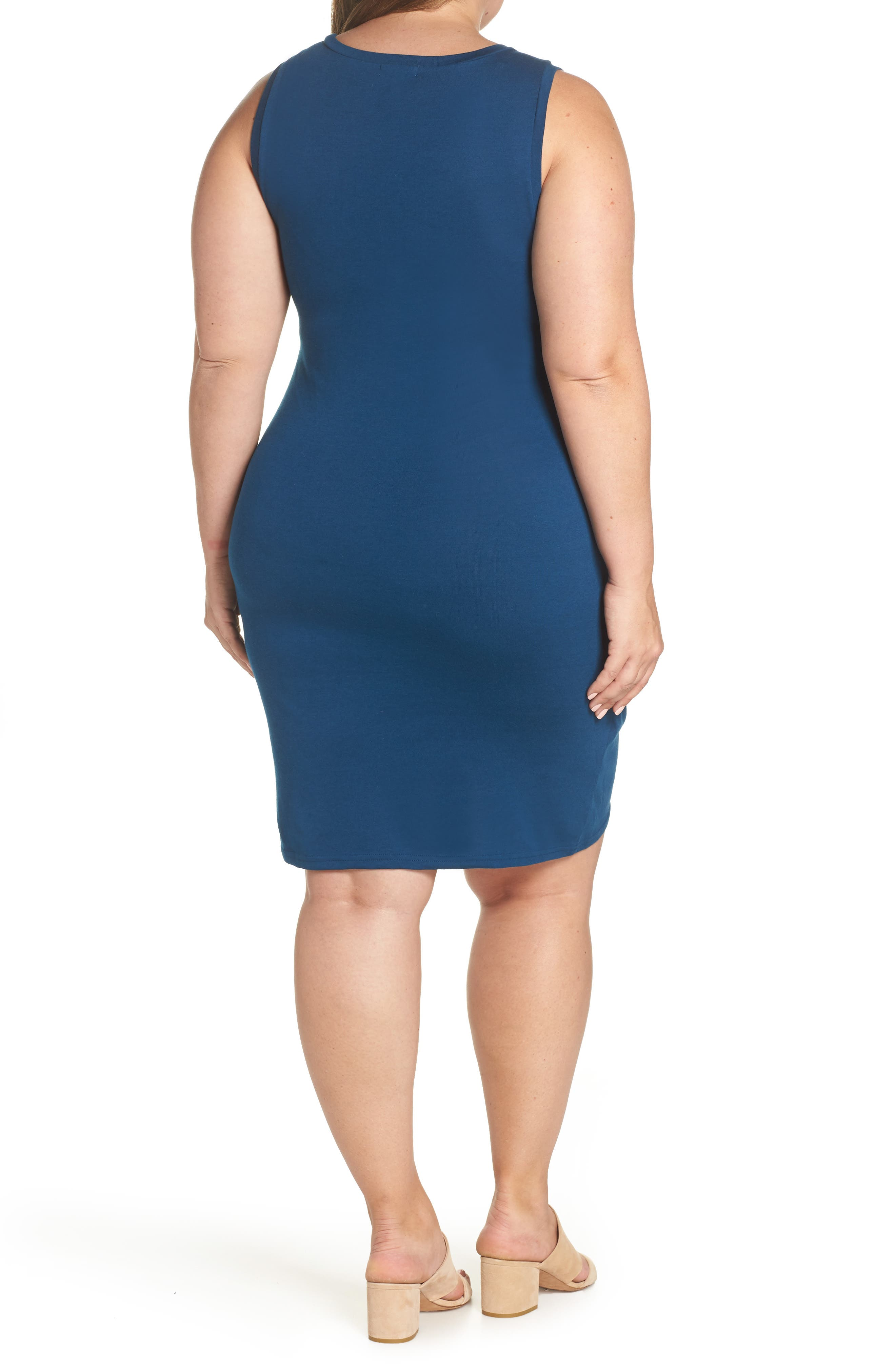 Ruched Sheath Dress,                             Alternate thumbnail 2, color,                             BLUE AURORA