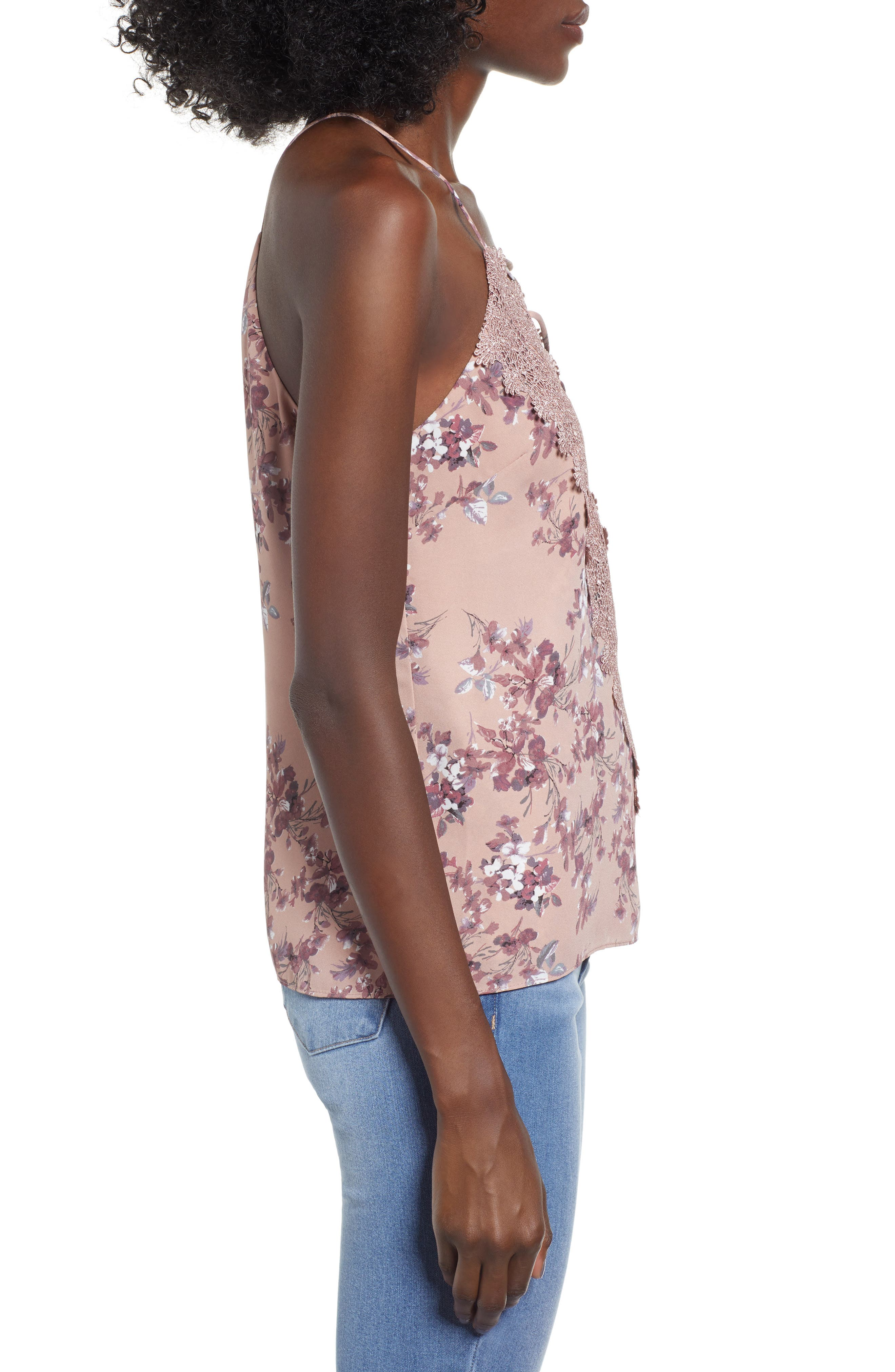 Posie Strappy Camisole,                             Alternate thumbnail 3, color,                             DUSTY MAUVE FLORAL