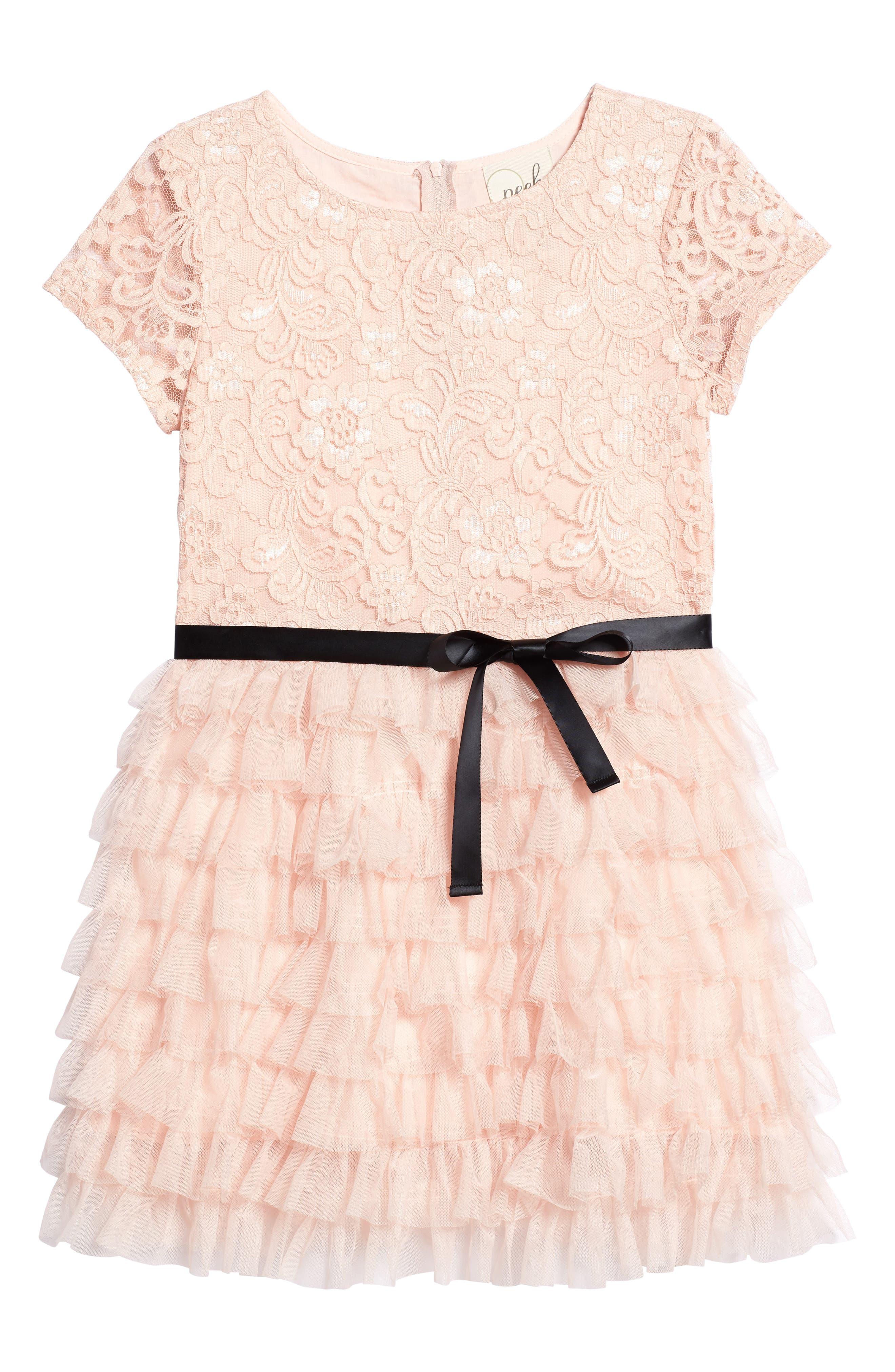 Audrey Lace & Ruffle Party Dress,                             Main thumbnail 1, color,