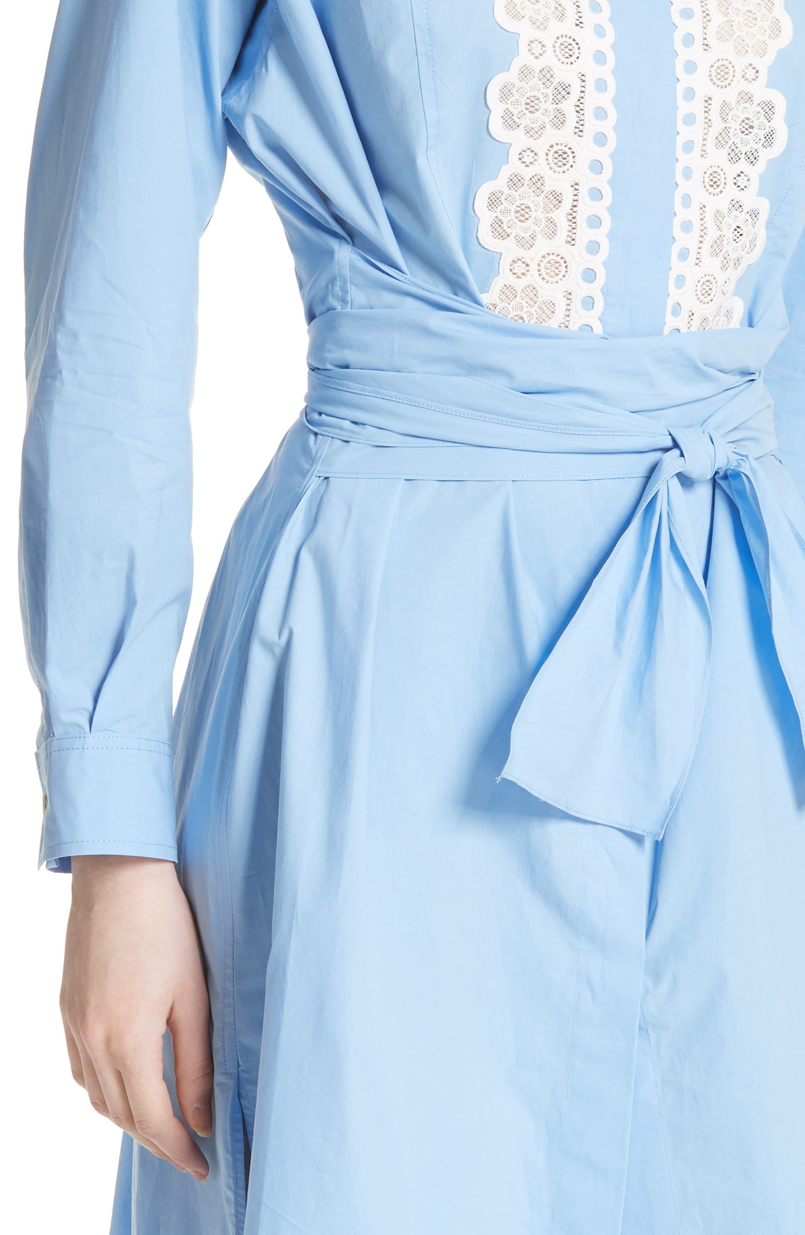 Bleu Ciel Cotton Shirtdress,                             Alternate thumbnail 4, color,