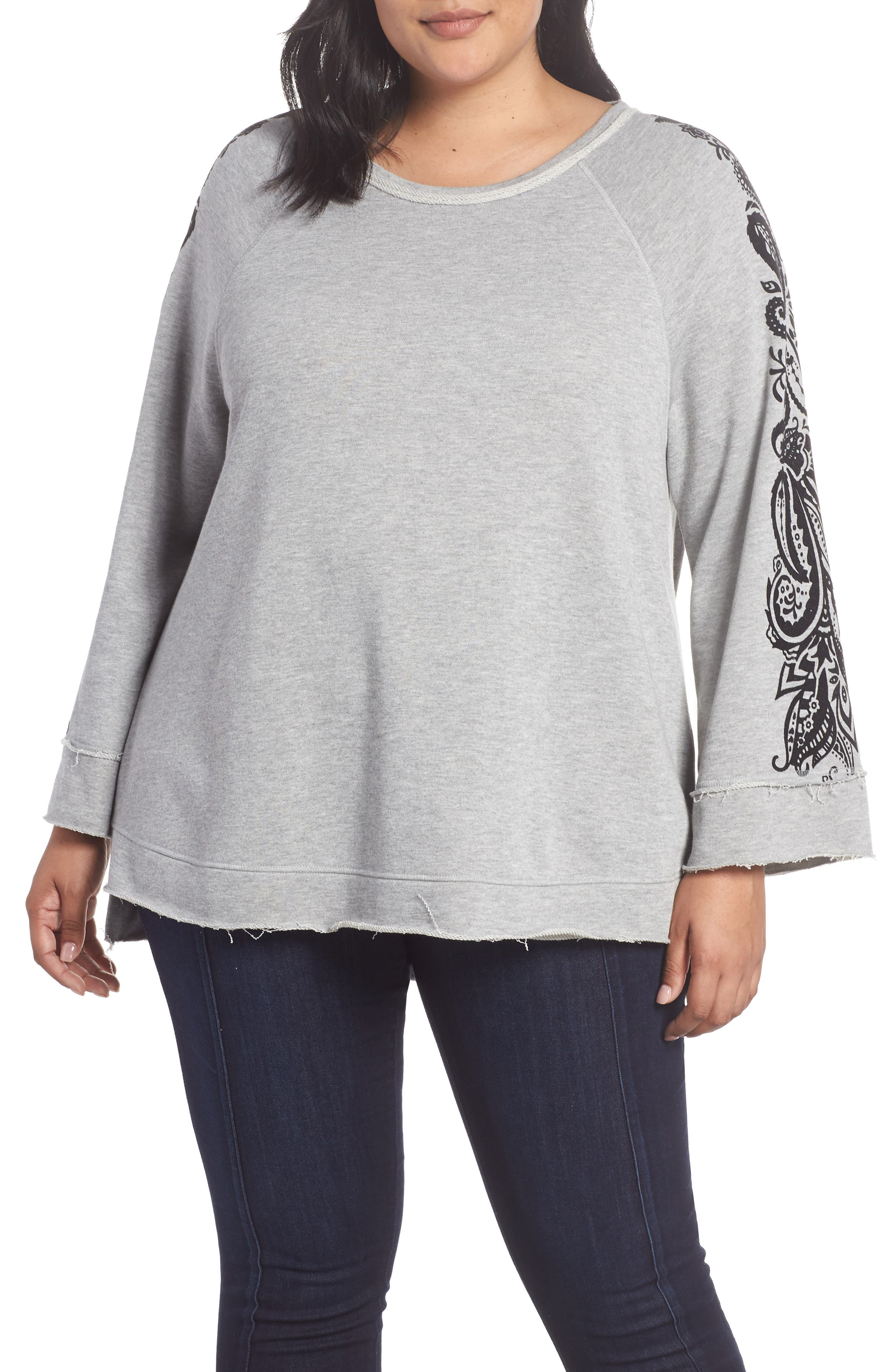 Plus Size Seven7 French Terry Bell Sleeve Sweatshirt, Grey