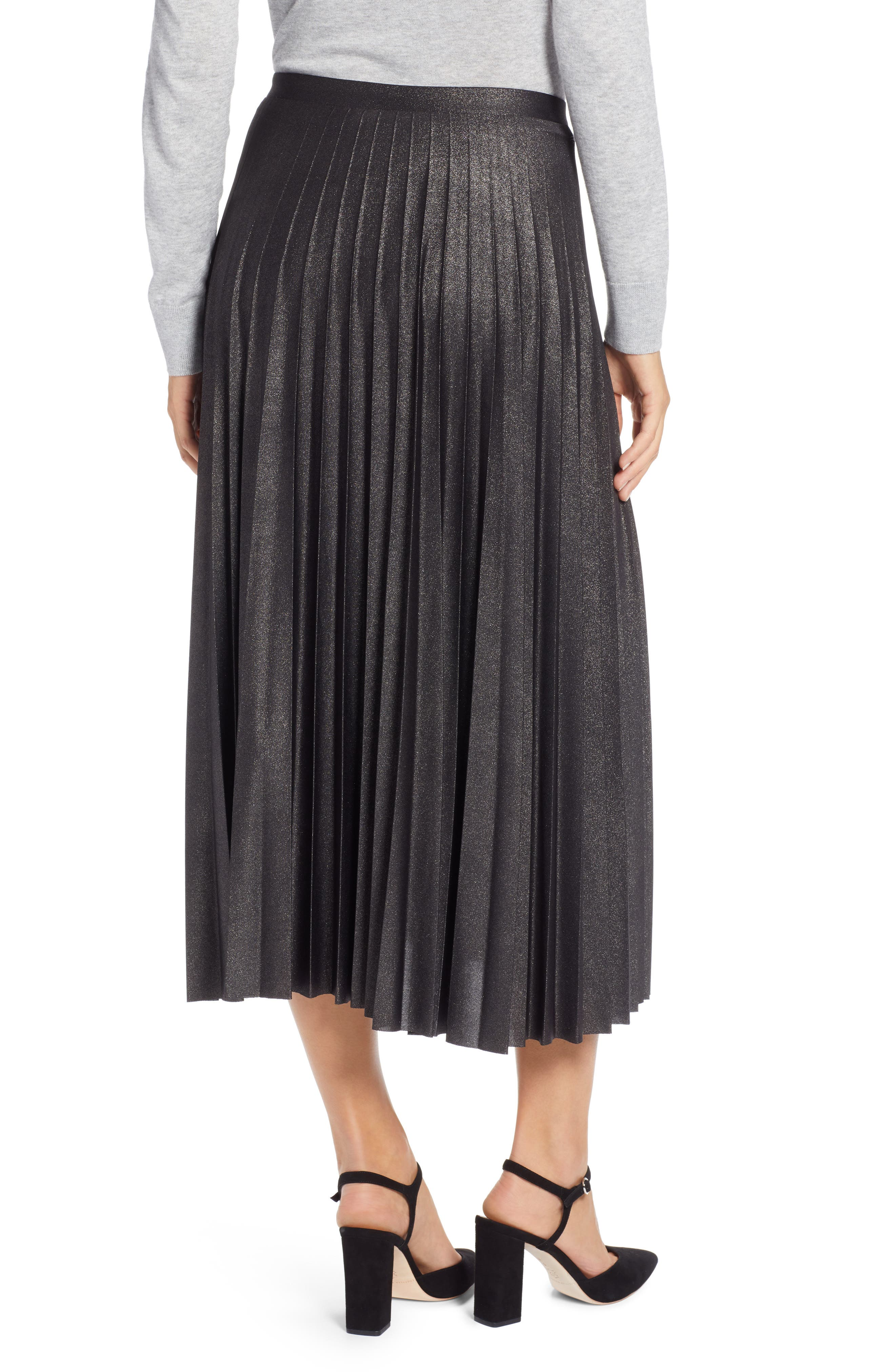 Metallic Pleat Midi Skirt,                             Alternate thumbnail 2, color,                             BLACK FOIL