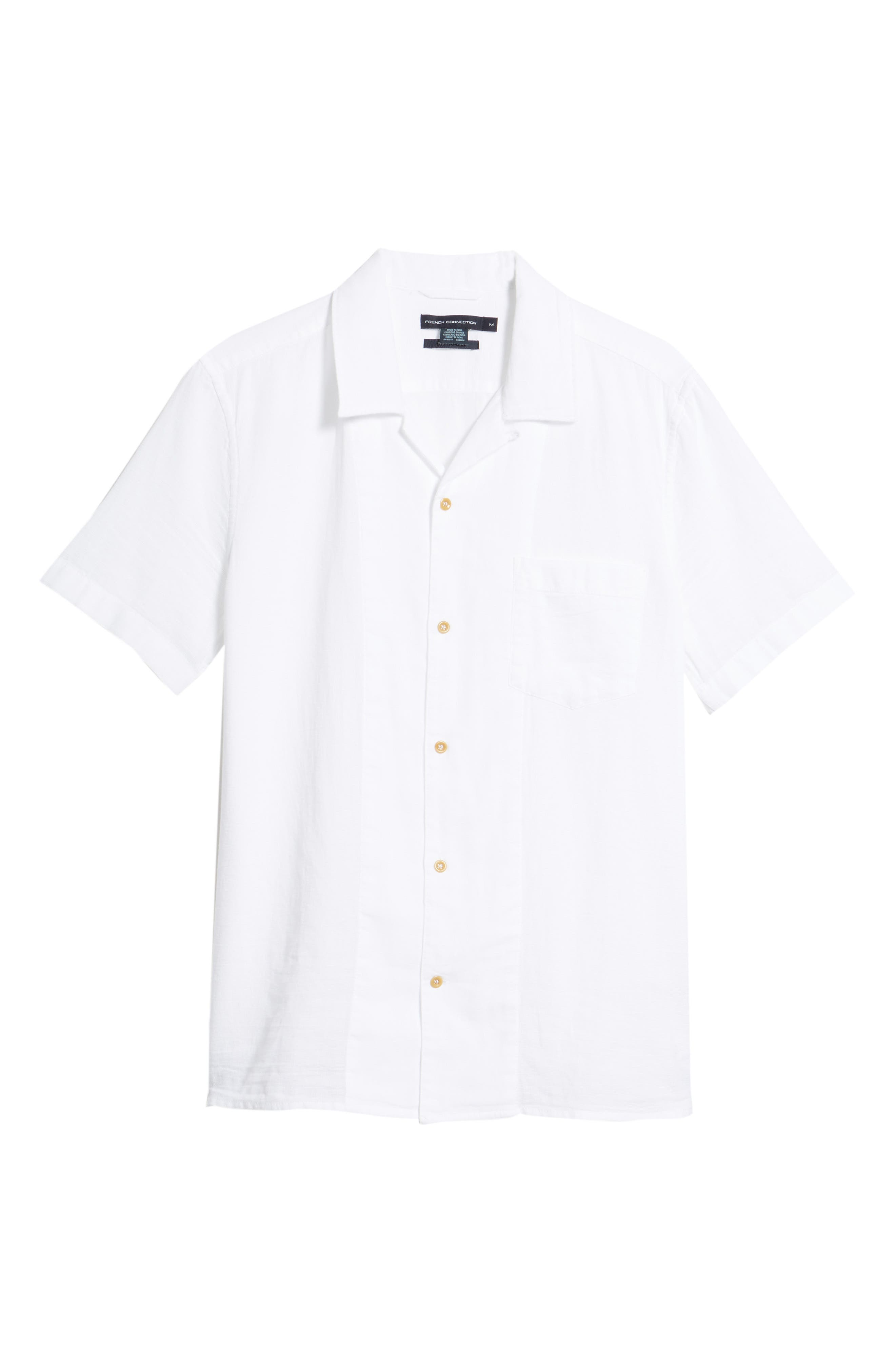 Regular Fit Textured Dobby Camp Shirt,                             Alternate thumbnail 6, color,                             100