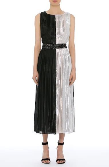 Pleated Chiffon Midi Dress, video thumbnail