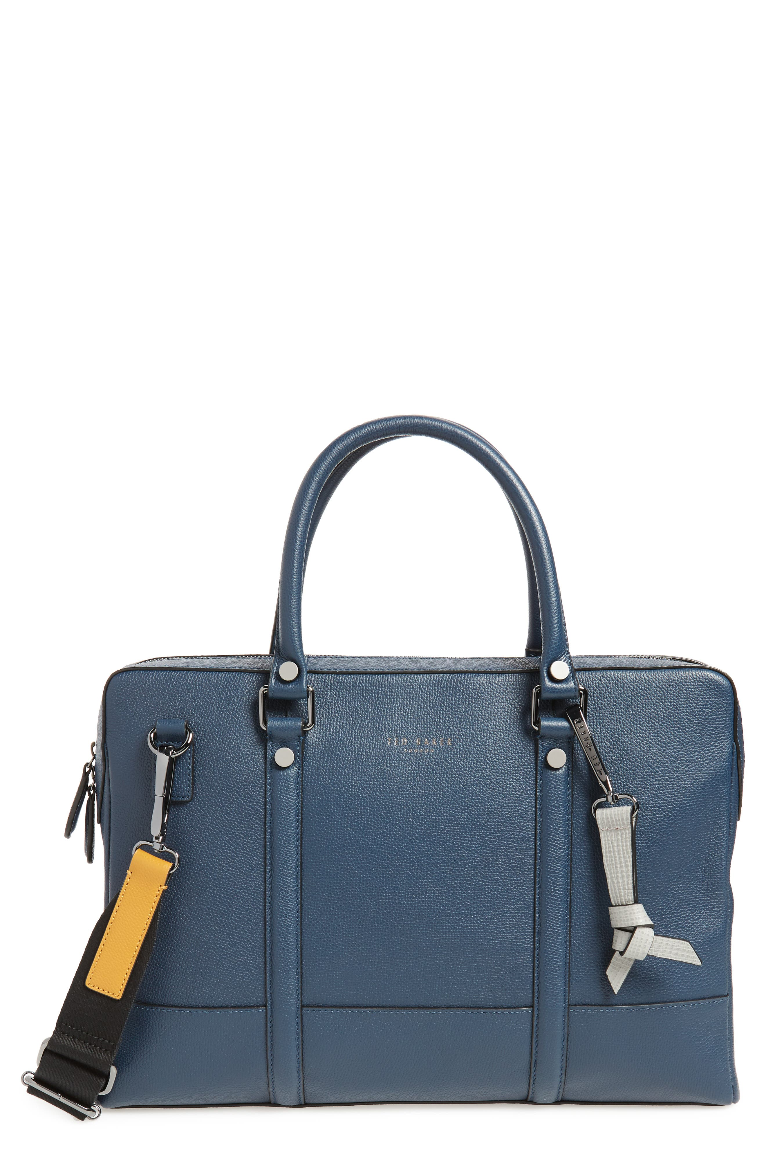 AWOL Leather Document Bag,                             Main thumbnail 1, color,                             NAVY