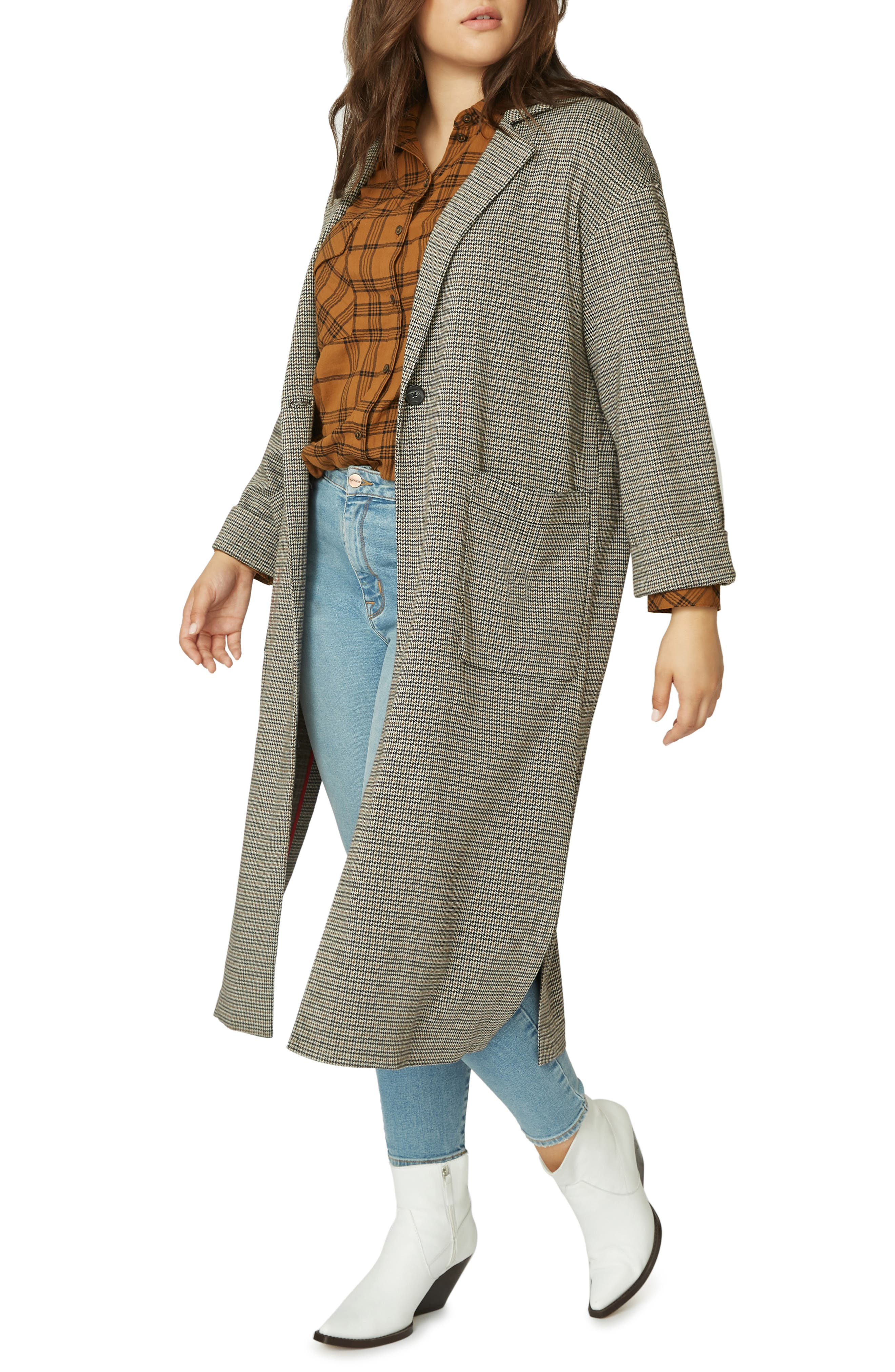 Bespoke Plaid Duster Jacket,                             Alternate thumbnail 3, color,                             KNT HND CK